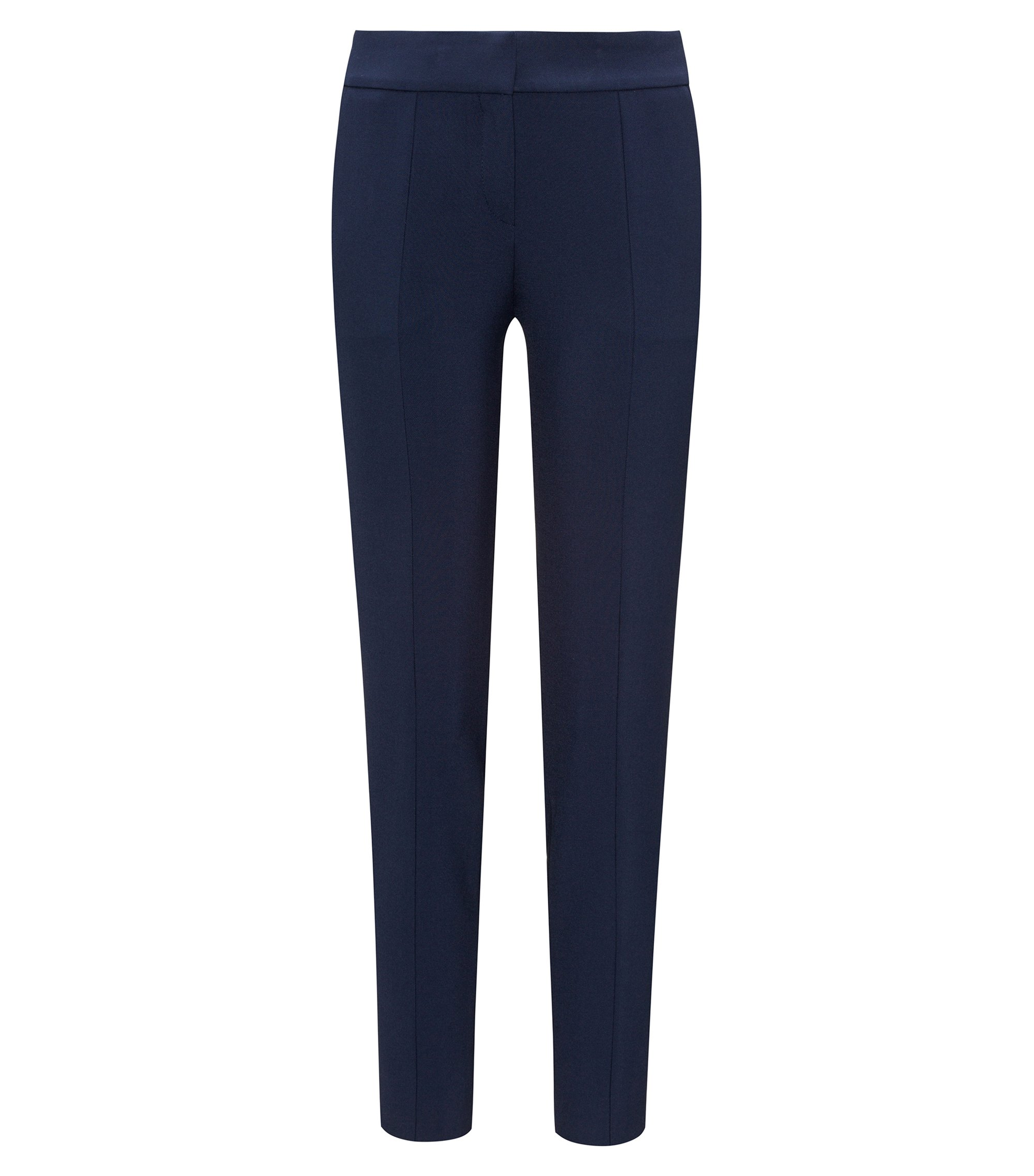 Slim-fit cropped trousers in double-faced stretch fabric, Dark Blue