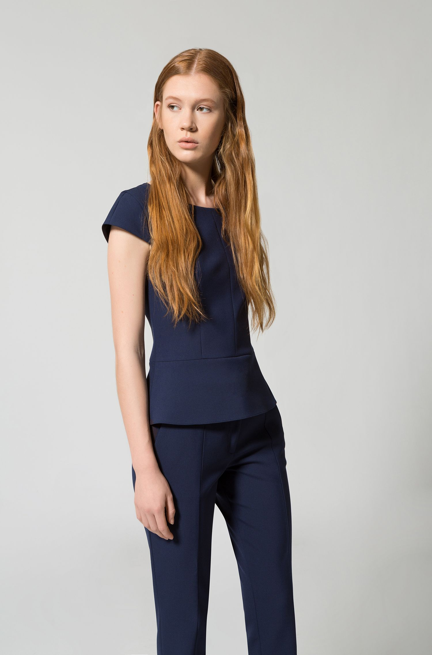 Slim-fit cropped trousers in double-faced stretch fabric