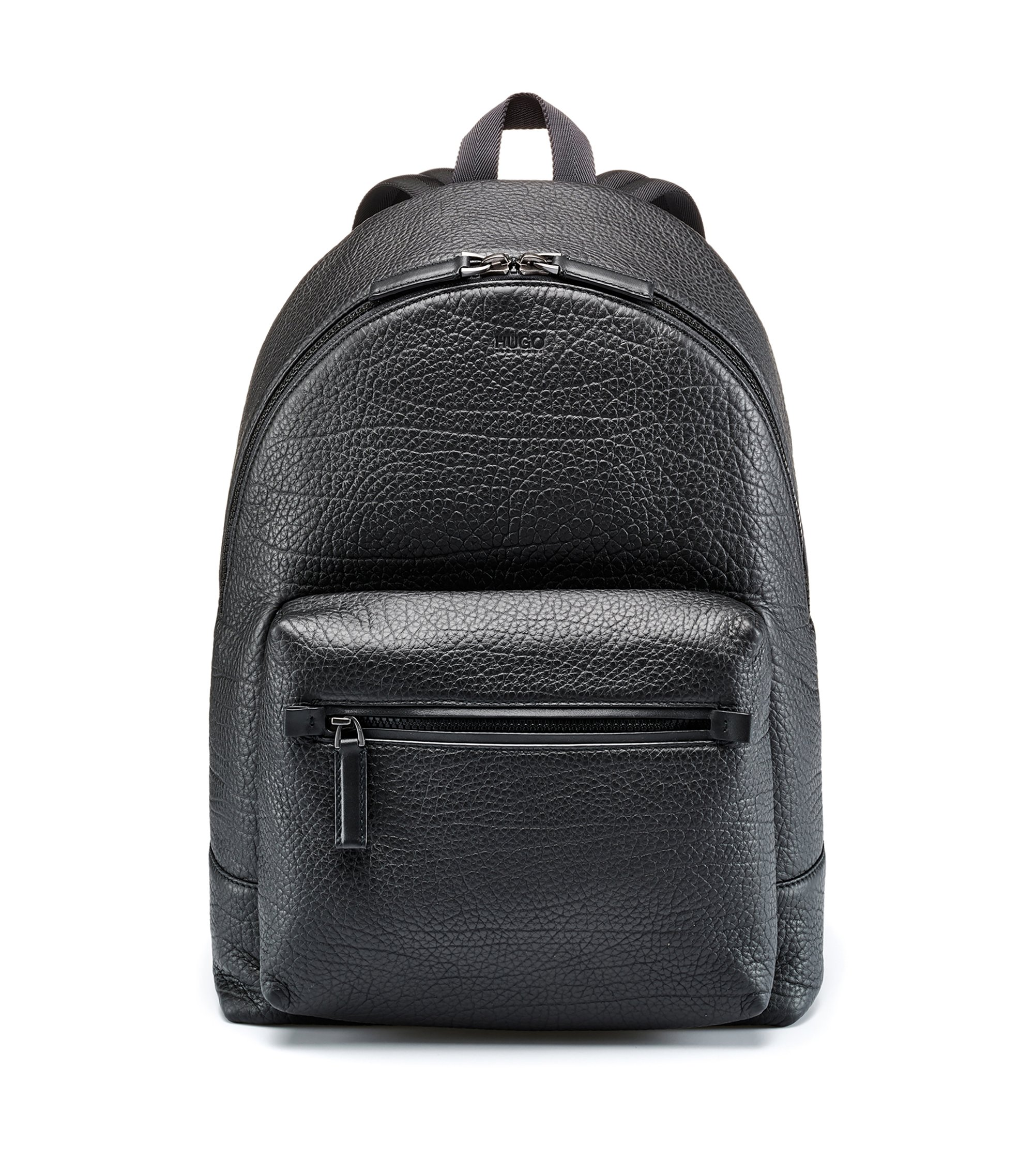 Embossed Italian leather backpack with laptop pocket, Black