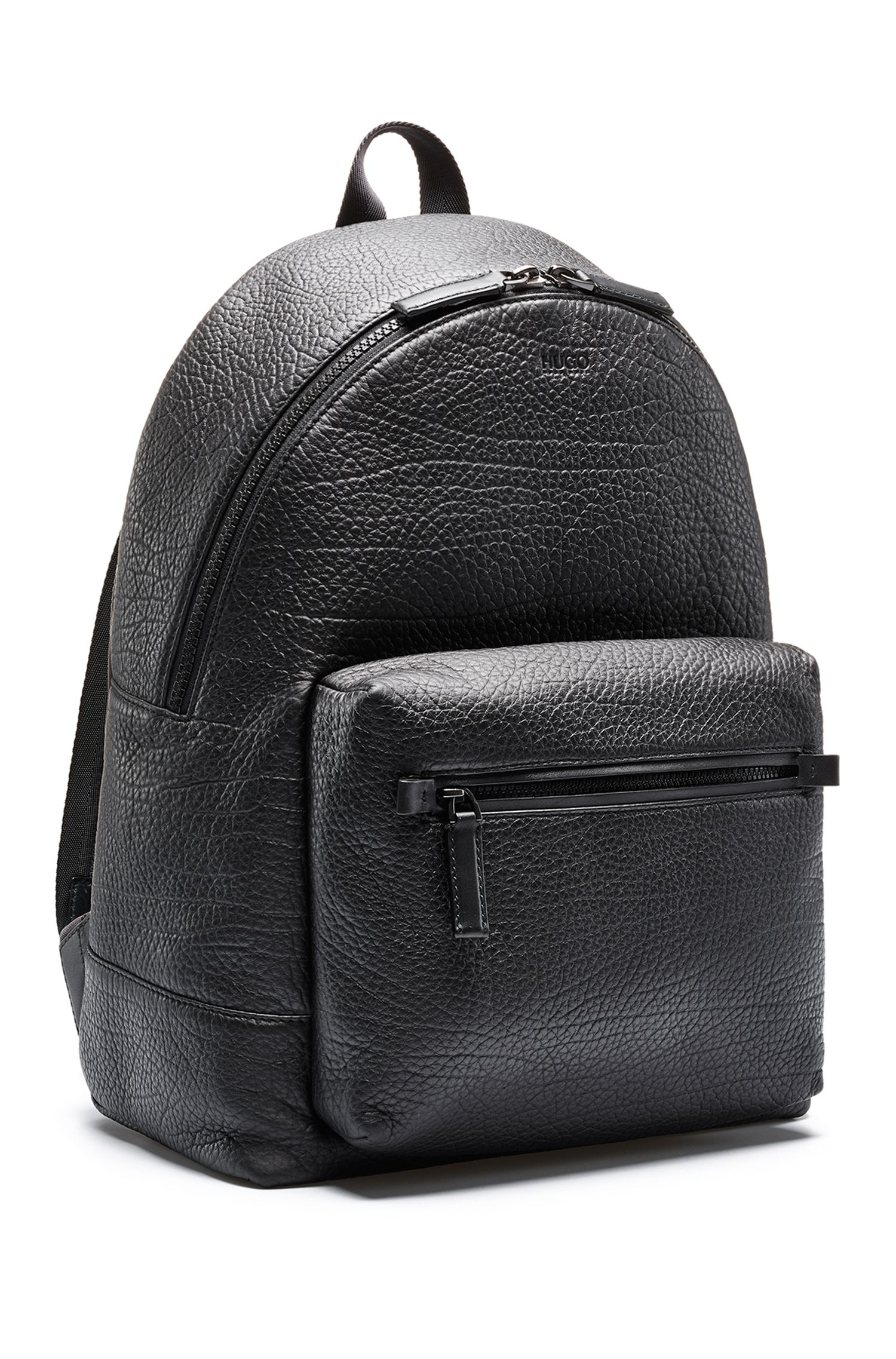 Embossed Italian leather backpack with laptop pocket