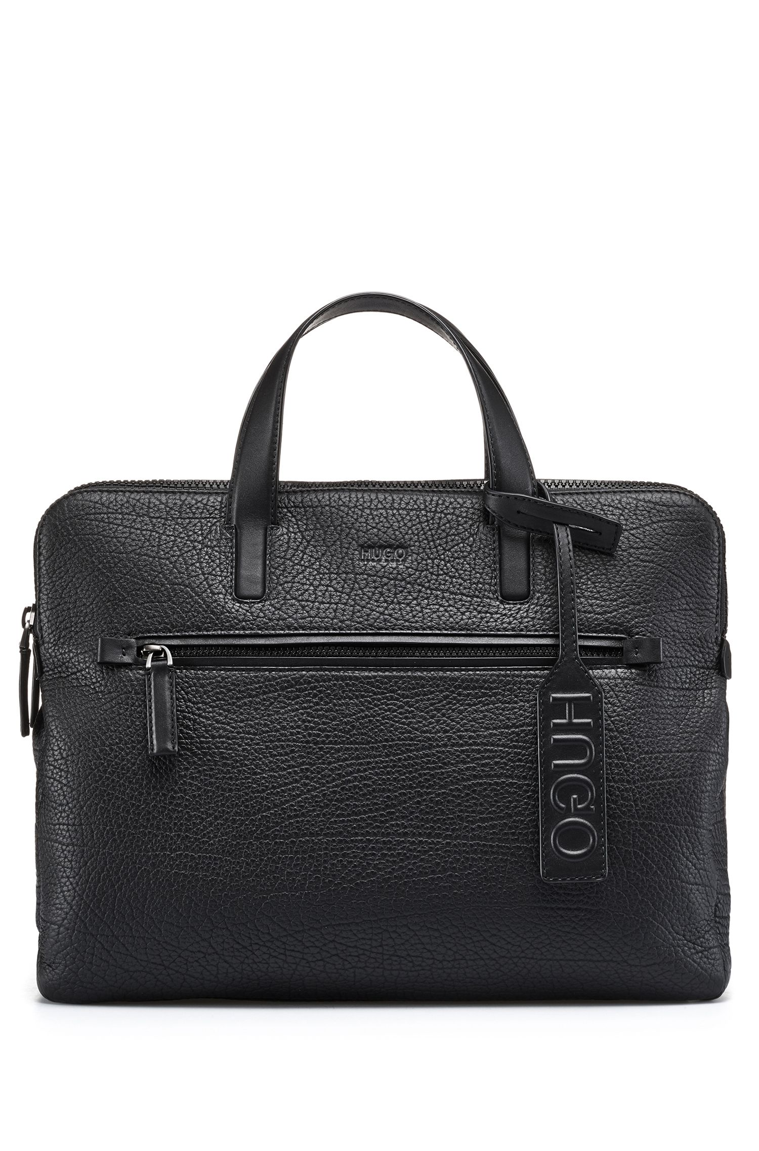 Document case in buffalo-embossed leather