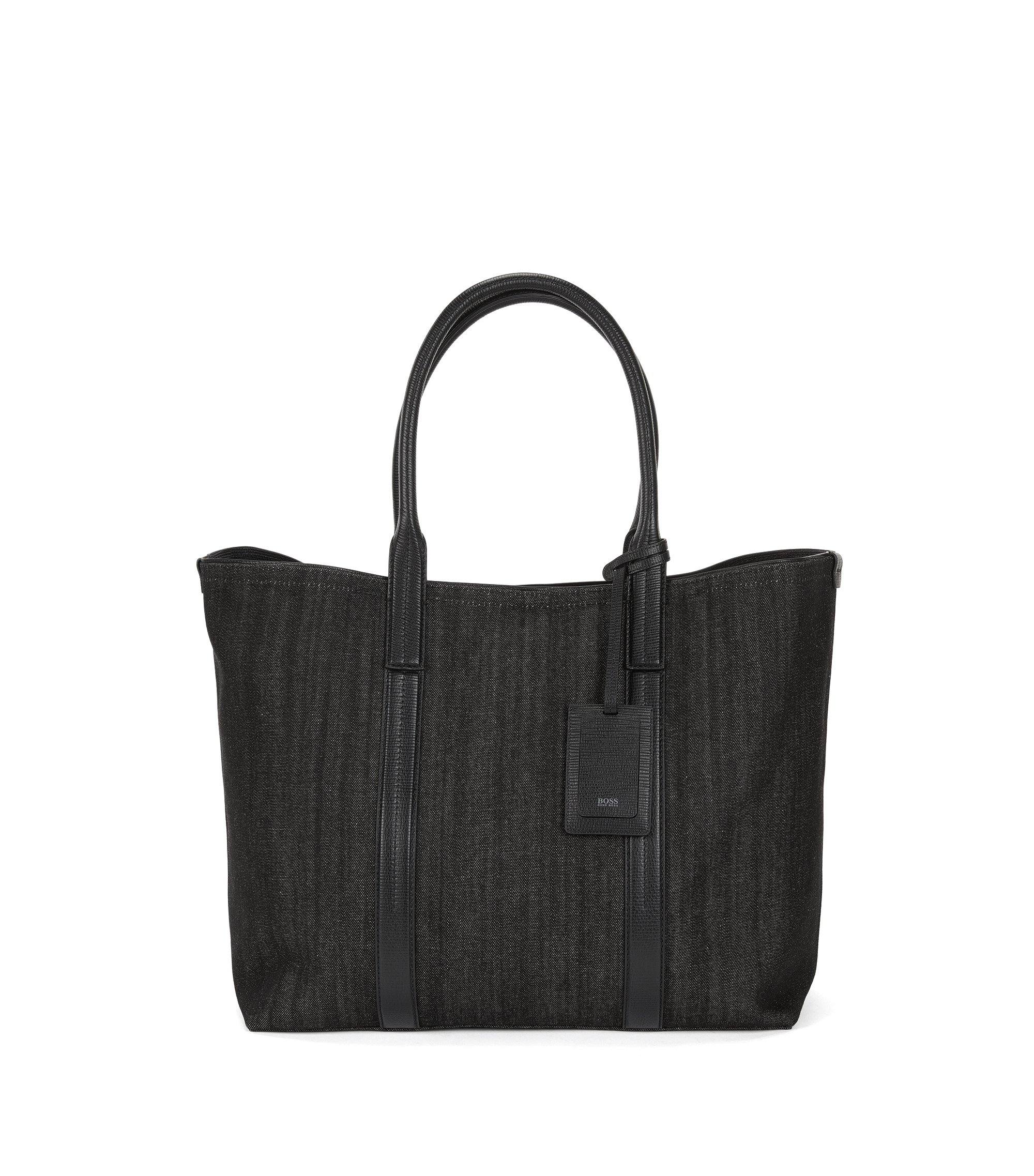 Tote Bag aus italienischem Denim mit Lederbesatz, Schwarz