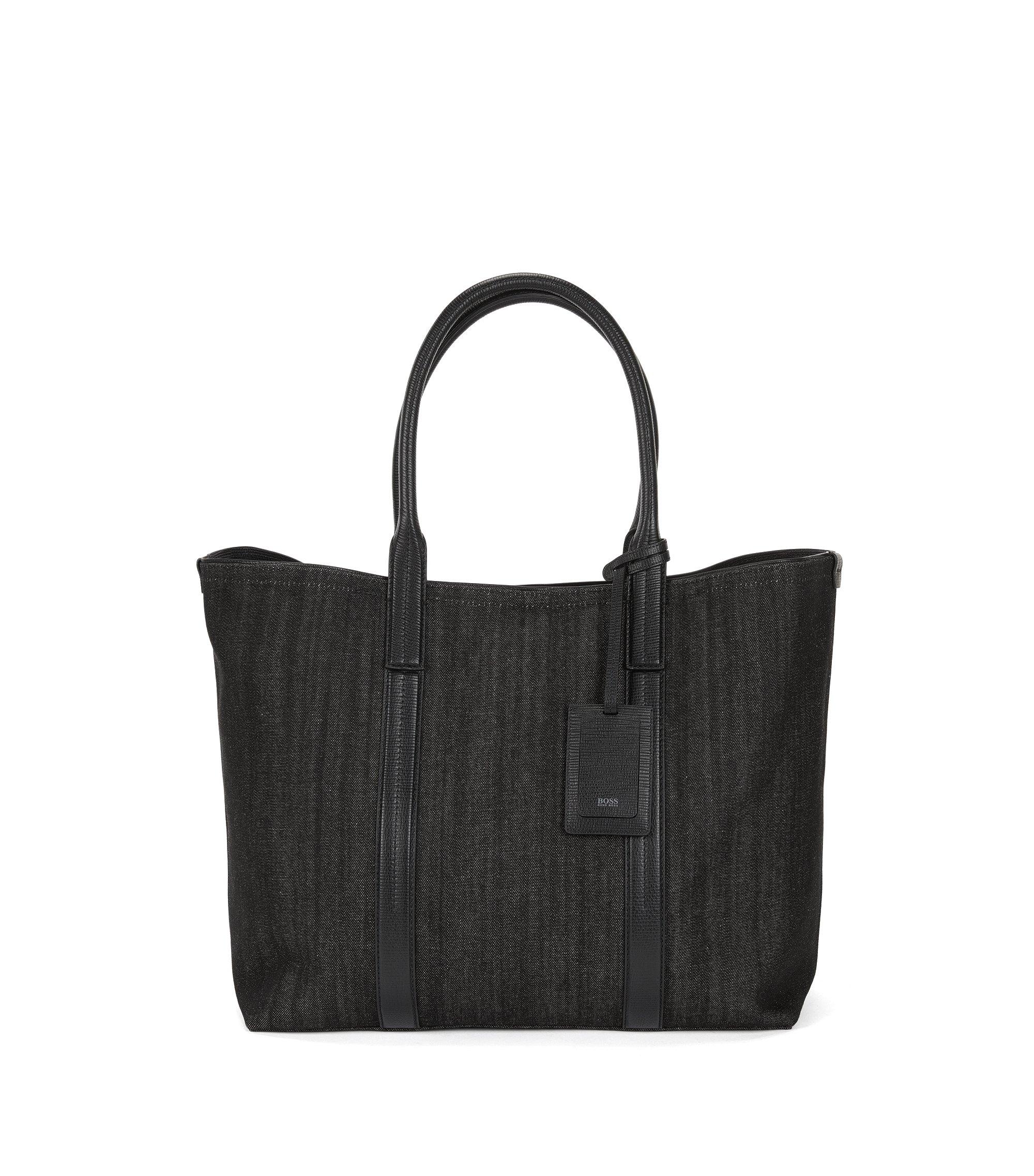 Italian-denim tote bag with leather trims, Black