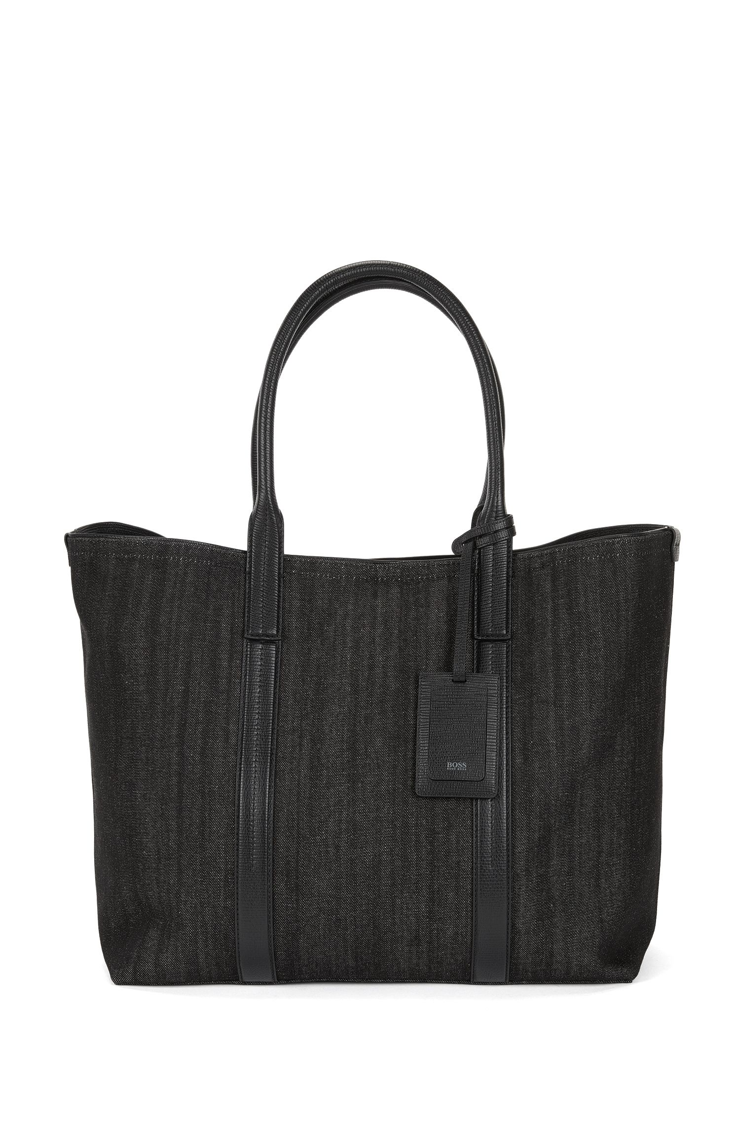 Italian-denim tote bag with leather trims