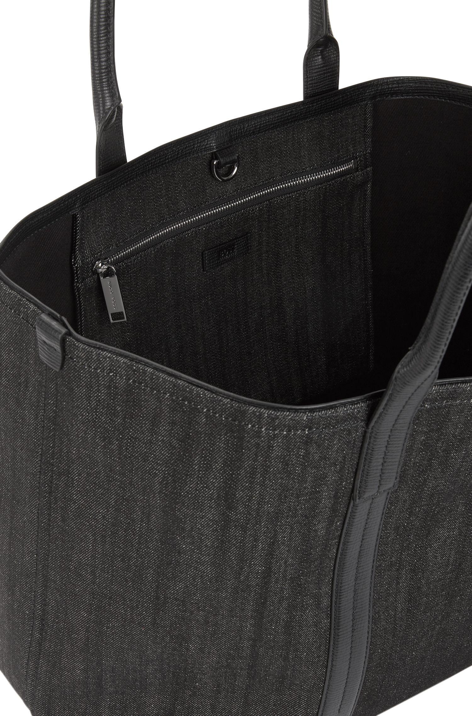 Tote Bag aus italienischem Denim mit Lederbesatz