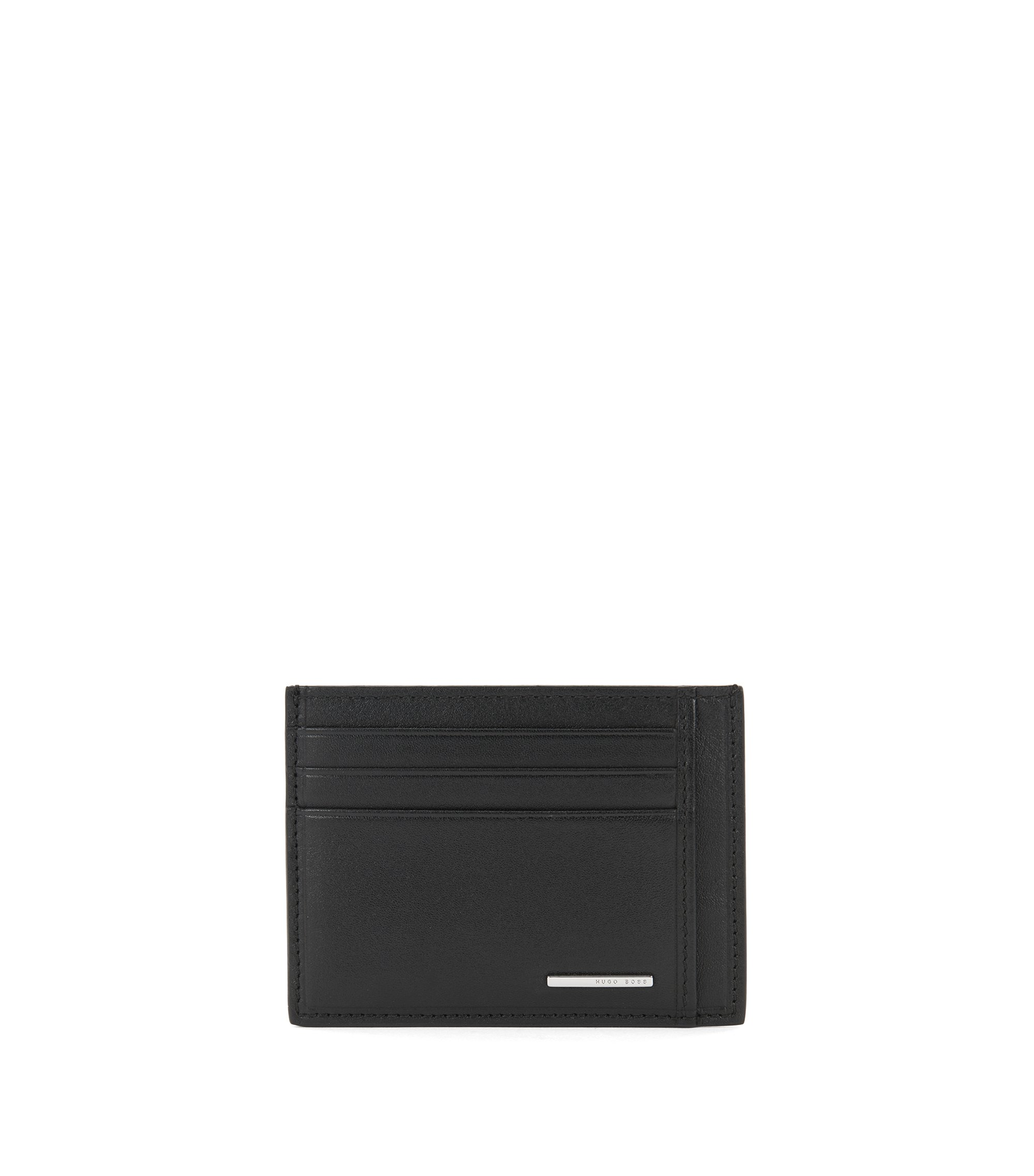 Card holder in smooth leather, Black