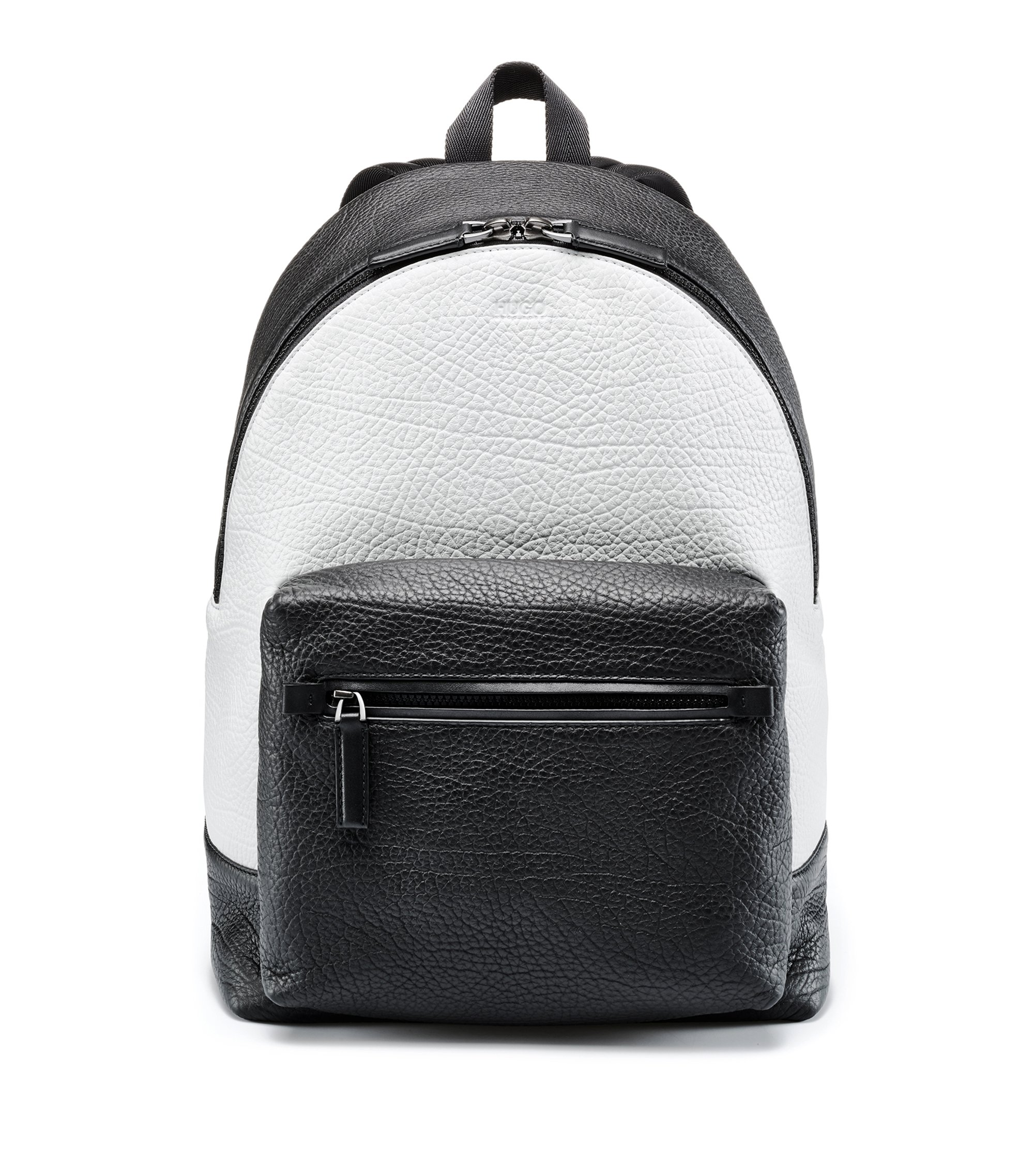 Two-tone backpack in buffalo-embossed Italian leather, Black