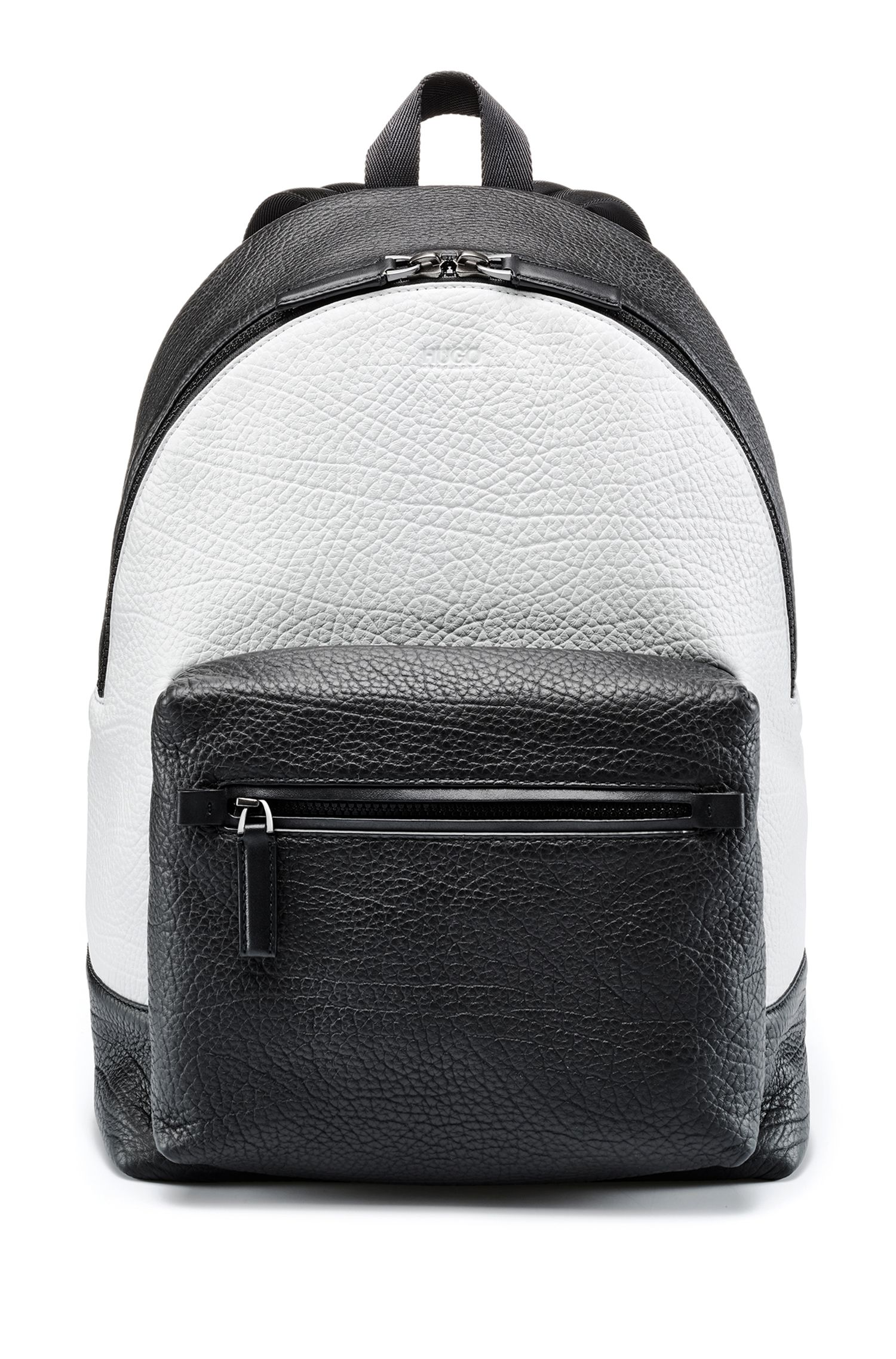 Two-tone backpack in buffalo-embossed Italian leather