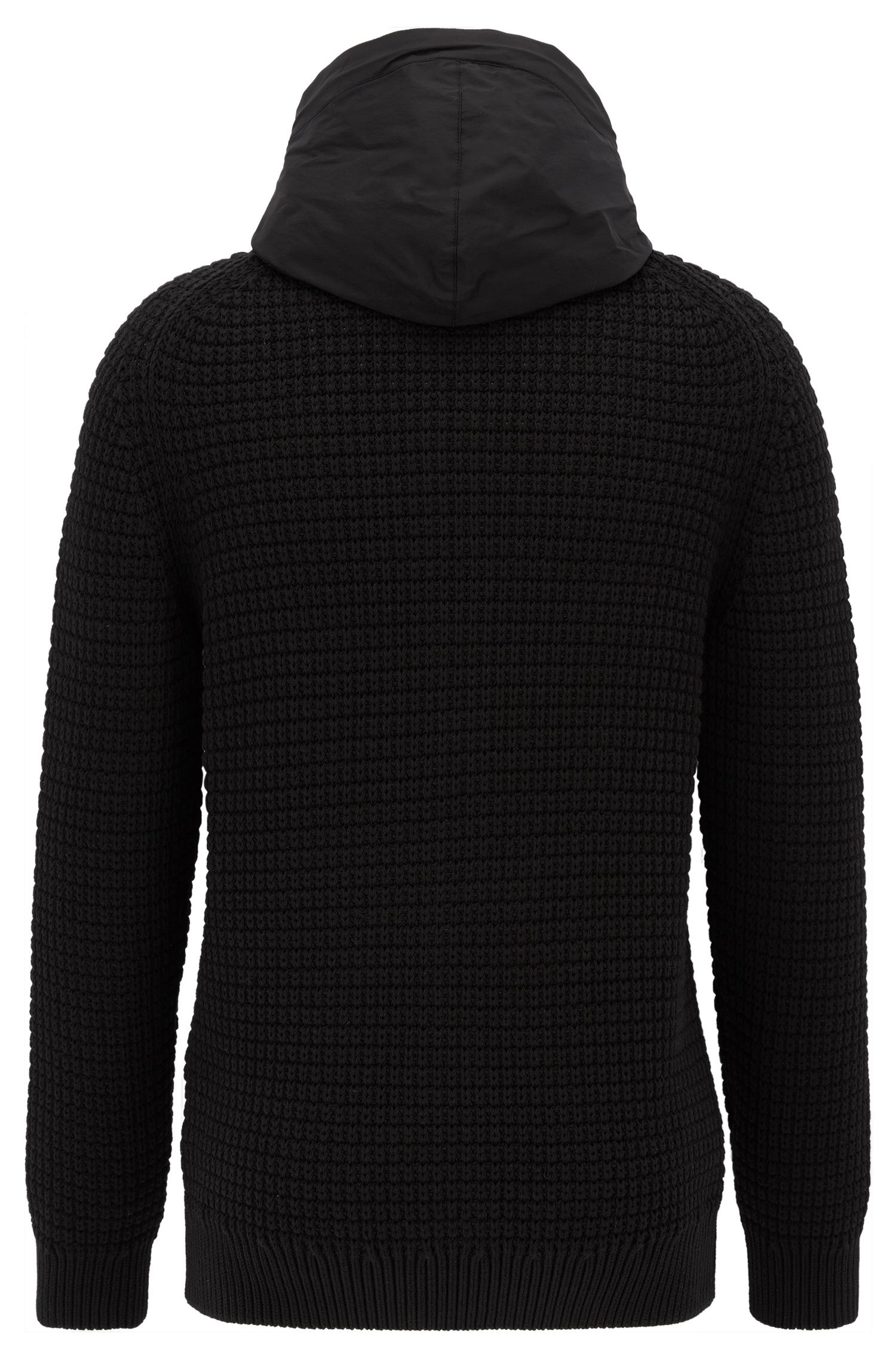 Zip-through knitted jacket with contrast hood