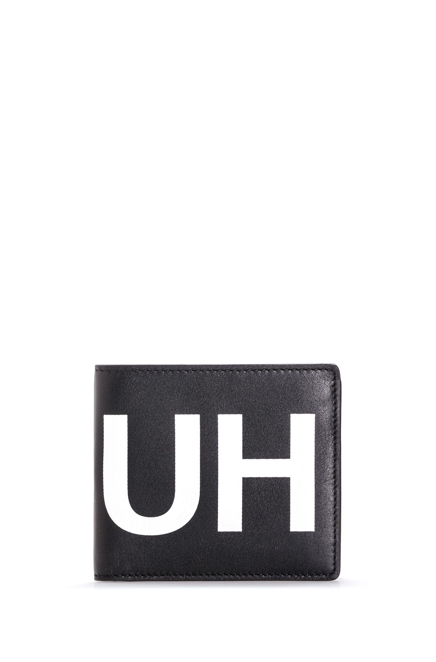 Klapp-Geldbörse aus Glattleder mit spiegelverkehrtem Kontrast-Logo