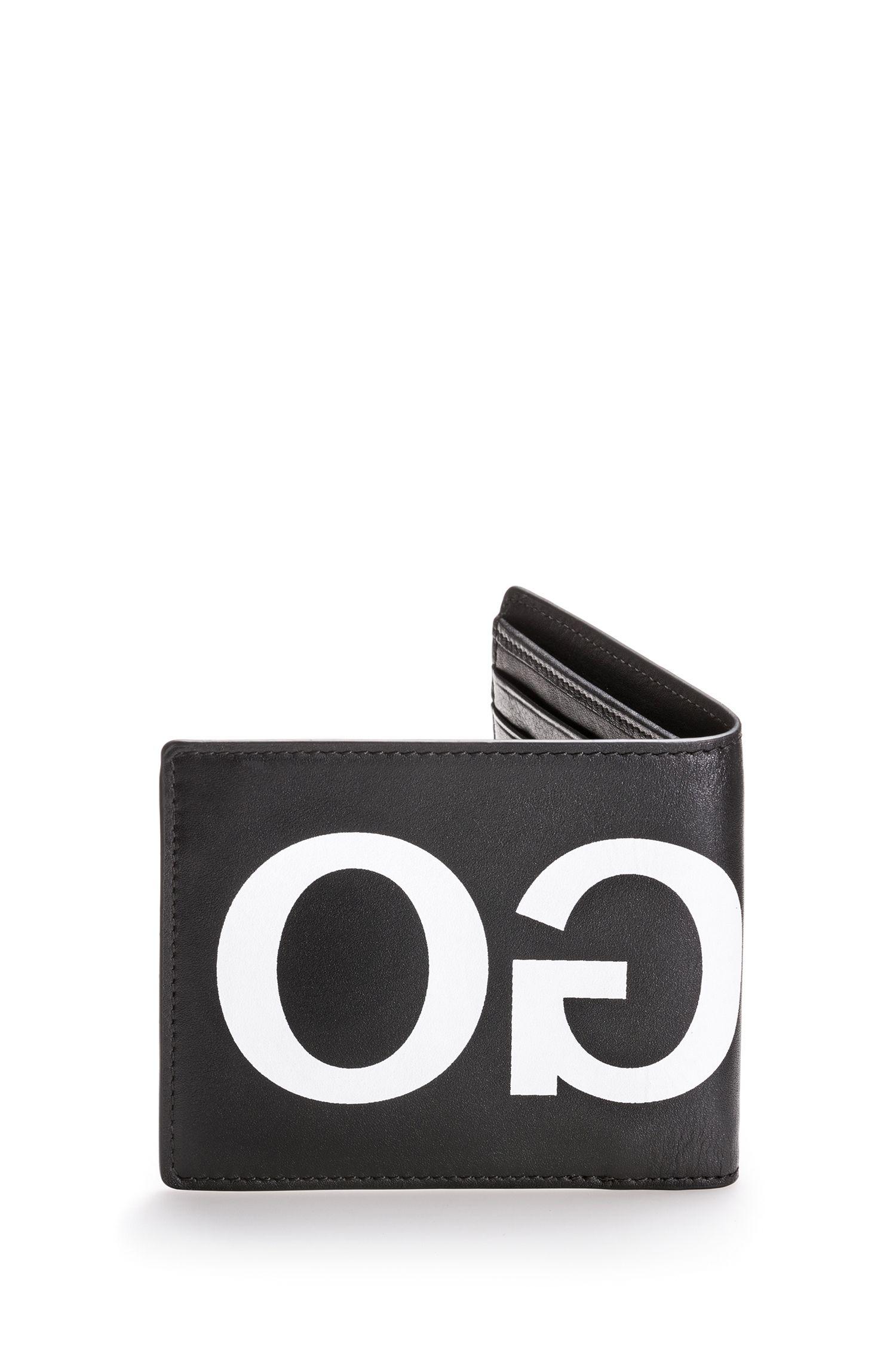 Leren portemonnee met contrasterend, gespiegeld logo