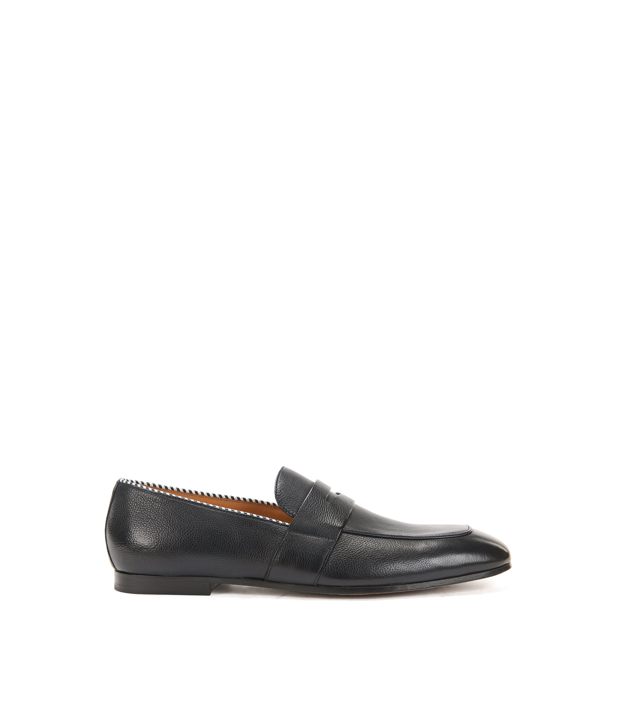 Penny loafers in vegetable-tanned grainy leather, Dark Blue