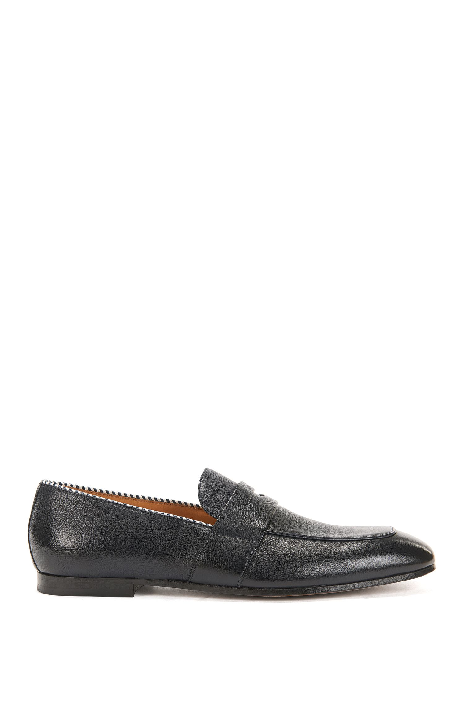 Penny loafers in vegetable-tanned grainy leather