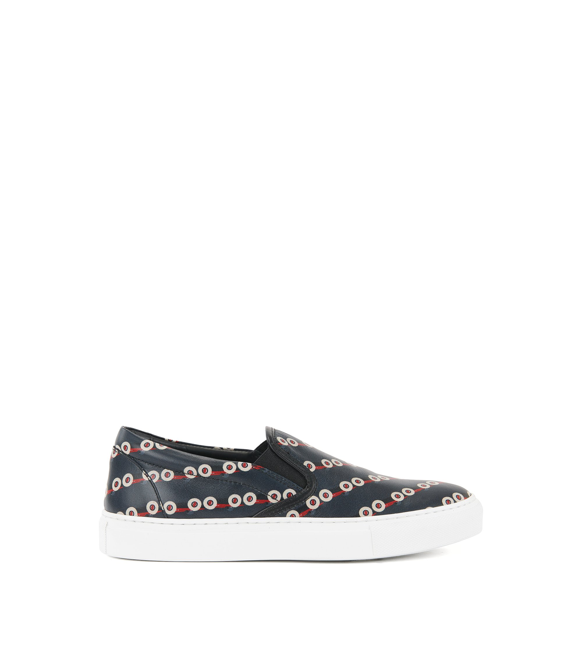 Slip-on leather trainers with race car print, Black