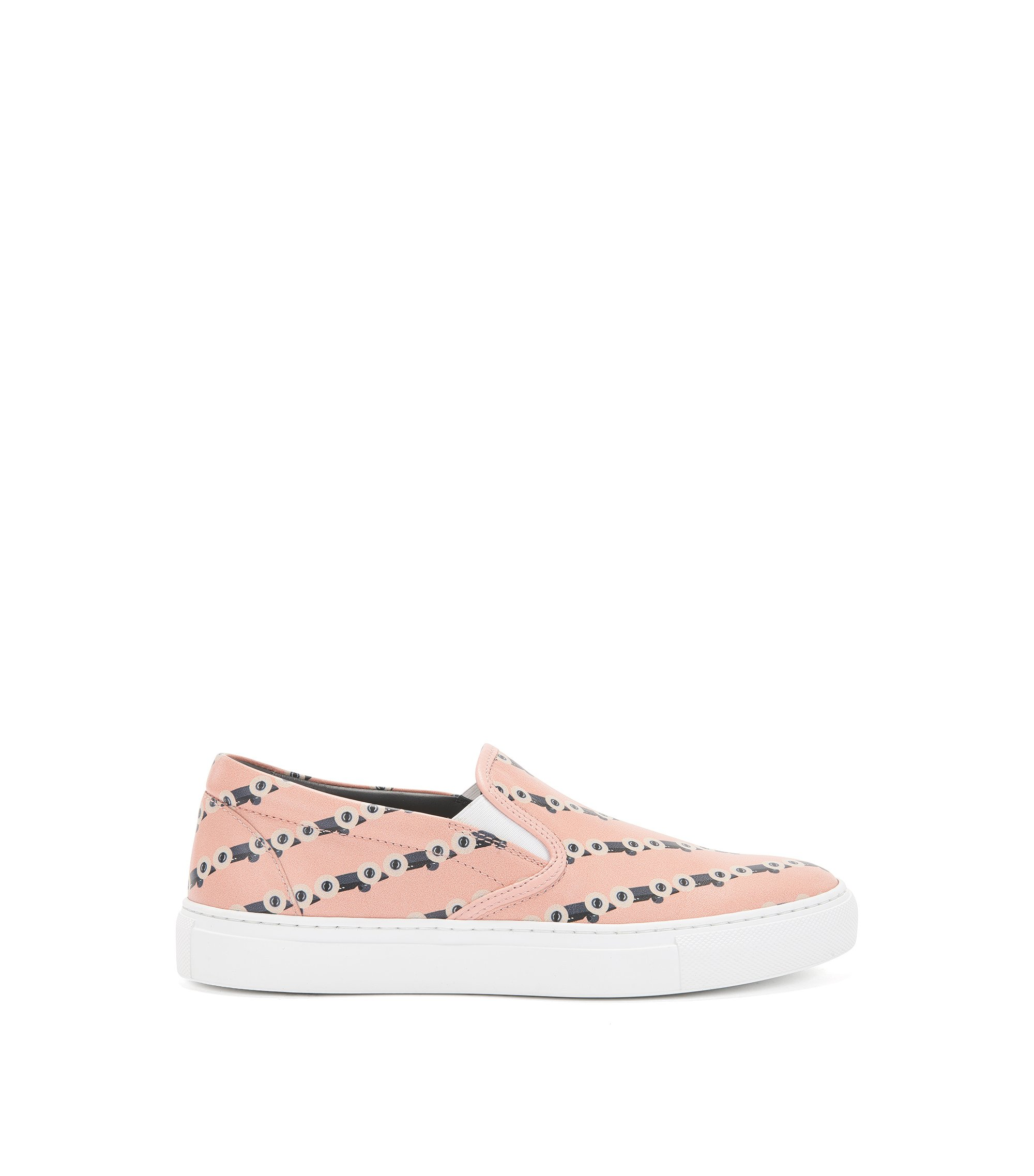 Slip-on leather trainers with race car print, light pink