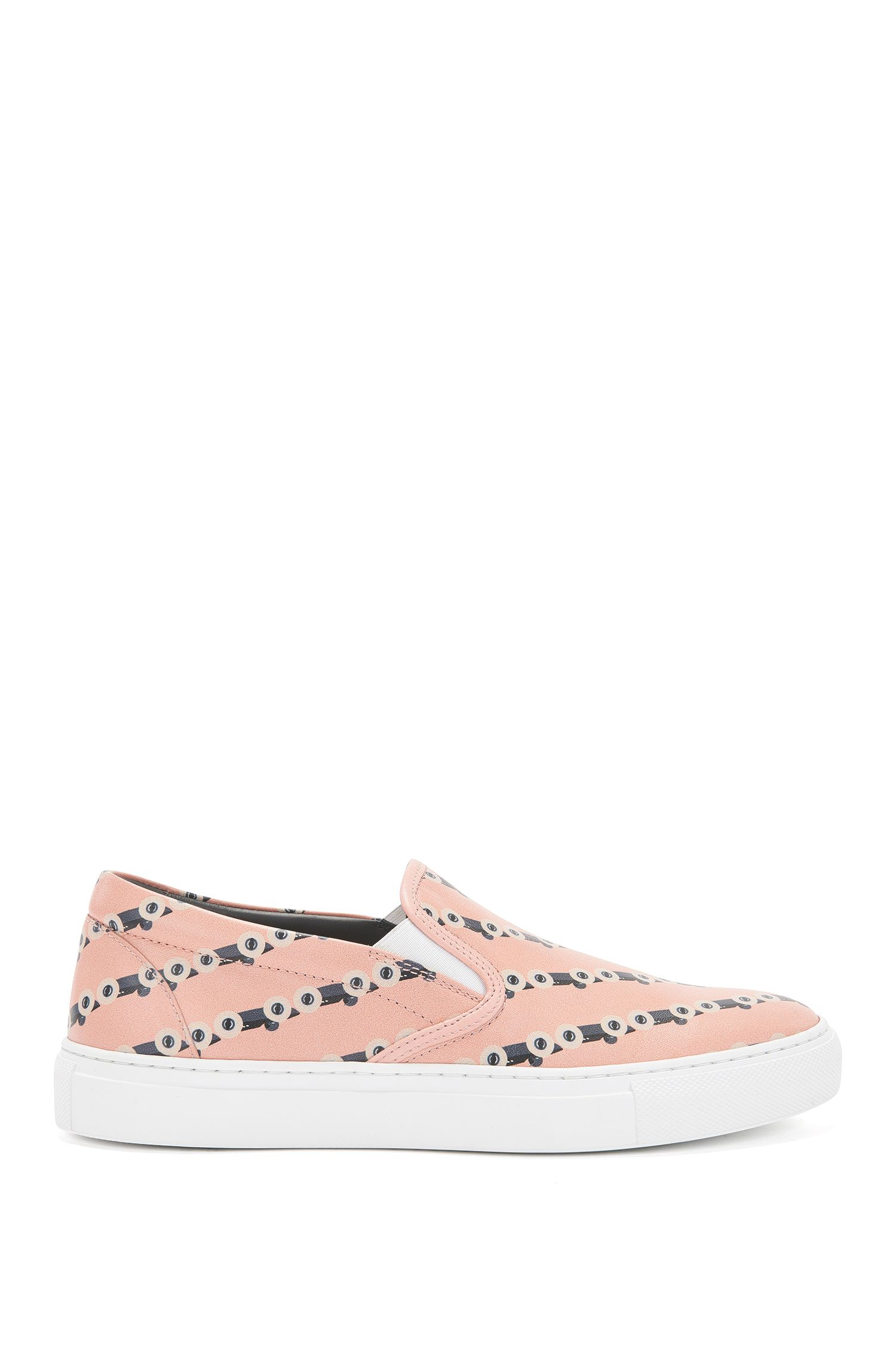 Slip-on leather trainers with race car print