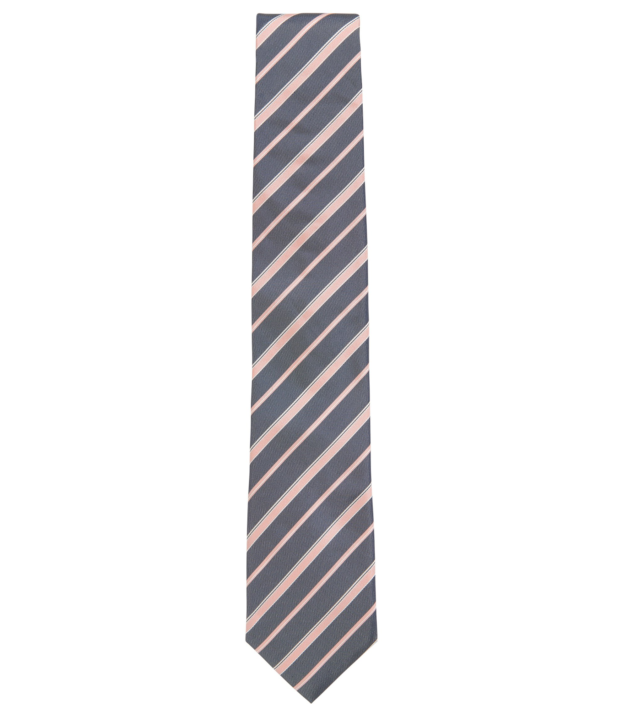 Diagonal-stripe silk-jacquard tie made in Italy, Anthracite