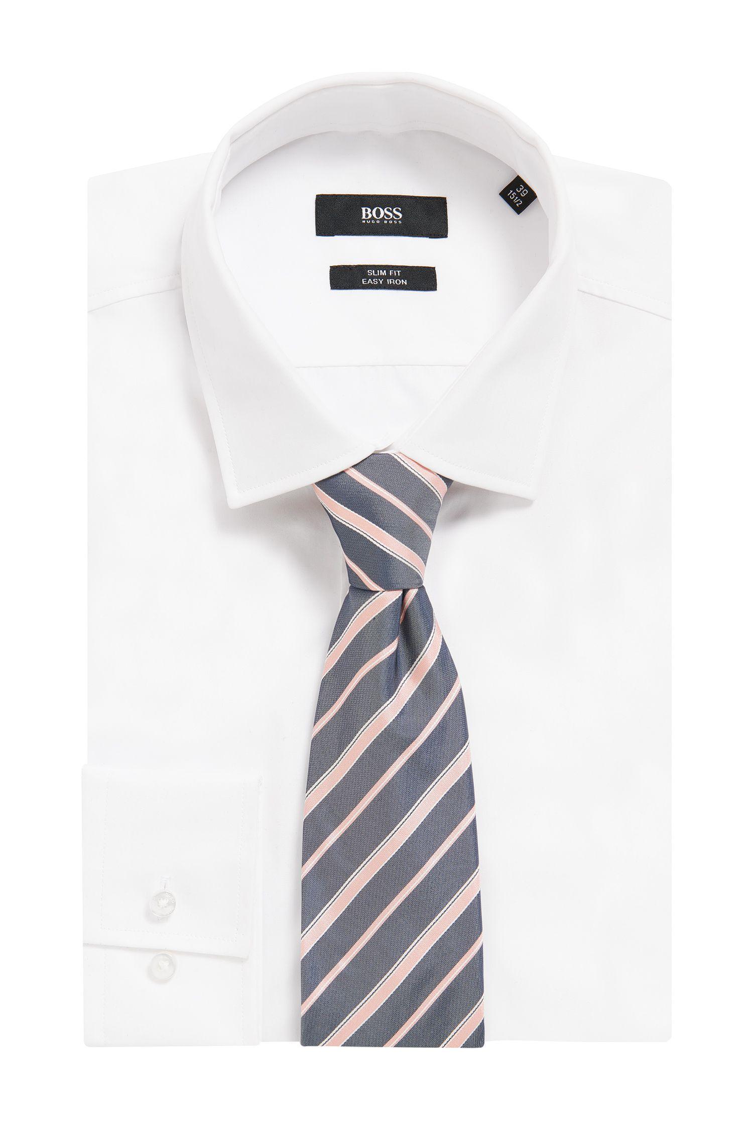 Cravate en jacquard de soie italien à rayures en diagonale