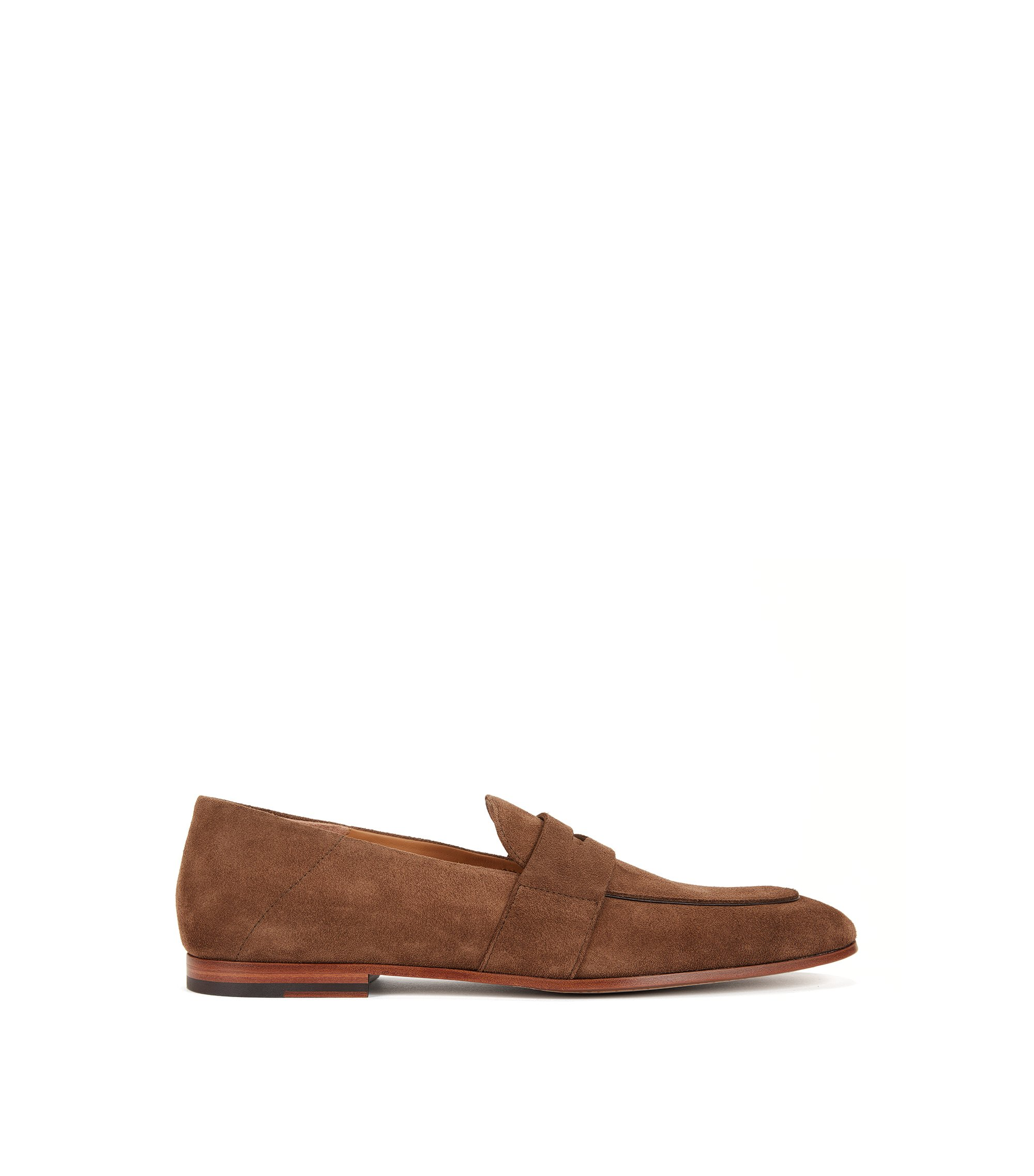 Suede penny loafers with leather soles, Khaki