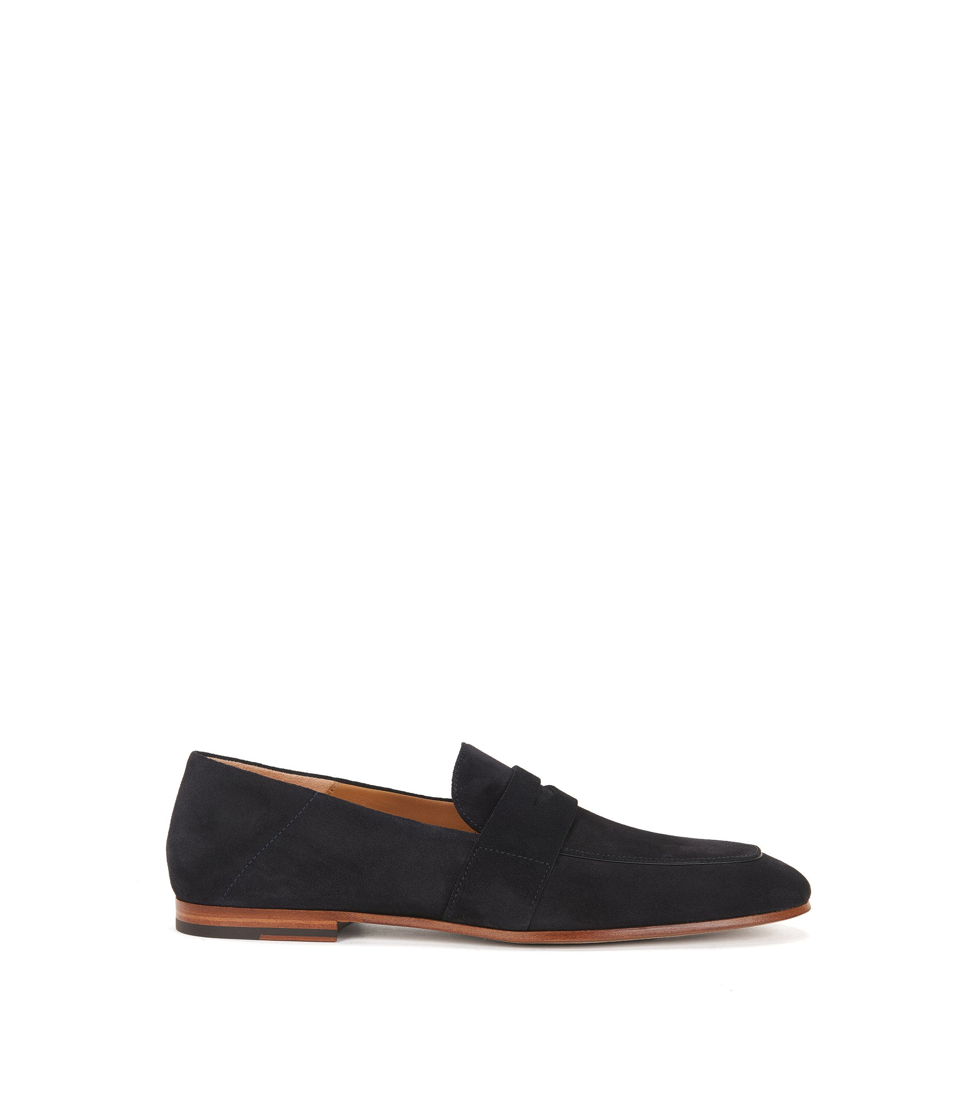 Suede penny loafers with leather soles, Dark Blue