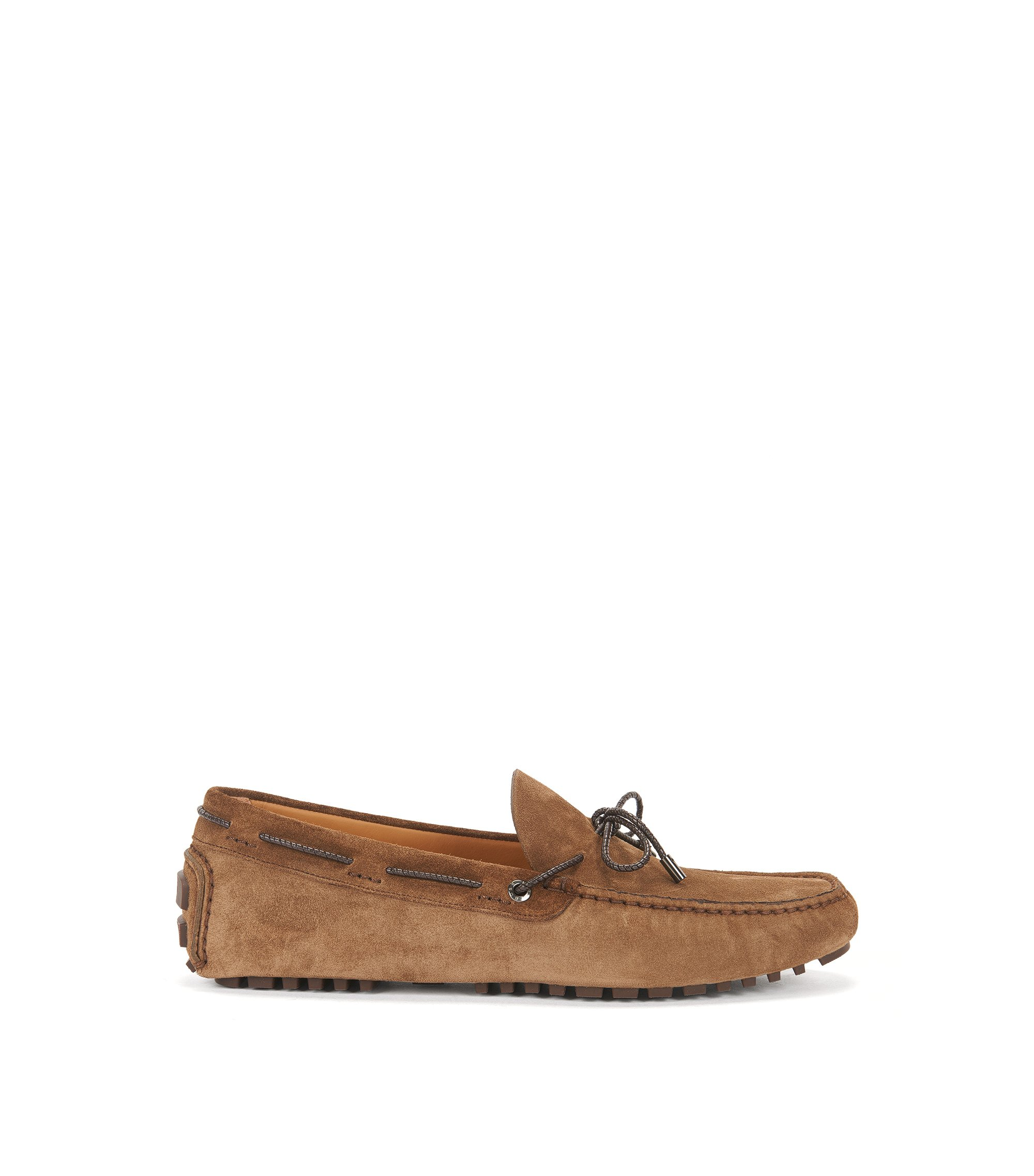 Moccasins in suede with woven lace, Brown
