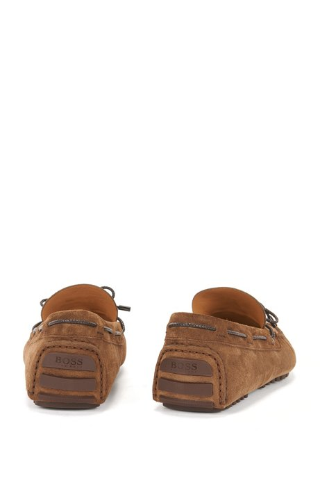 Moccasins in suede with woven lace BOSS Cheap Good Selling Discount Wide Range Of Collections Sale For Nice pWCzq