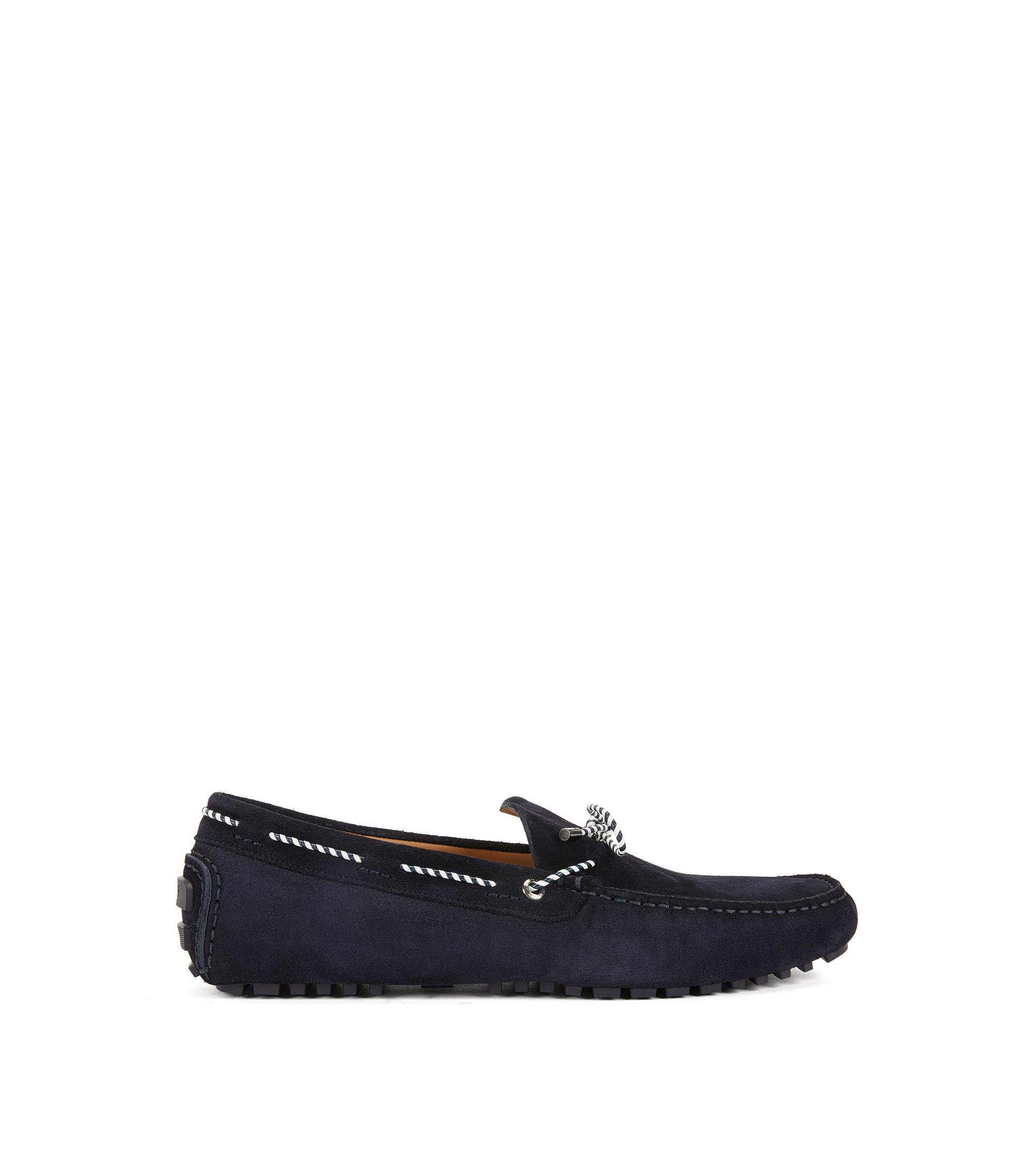Moccasins in suede with woven lace, Dark Blue