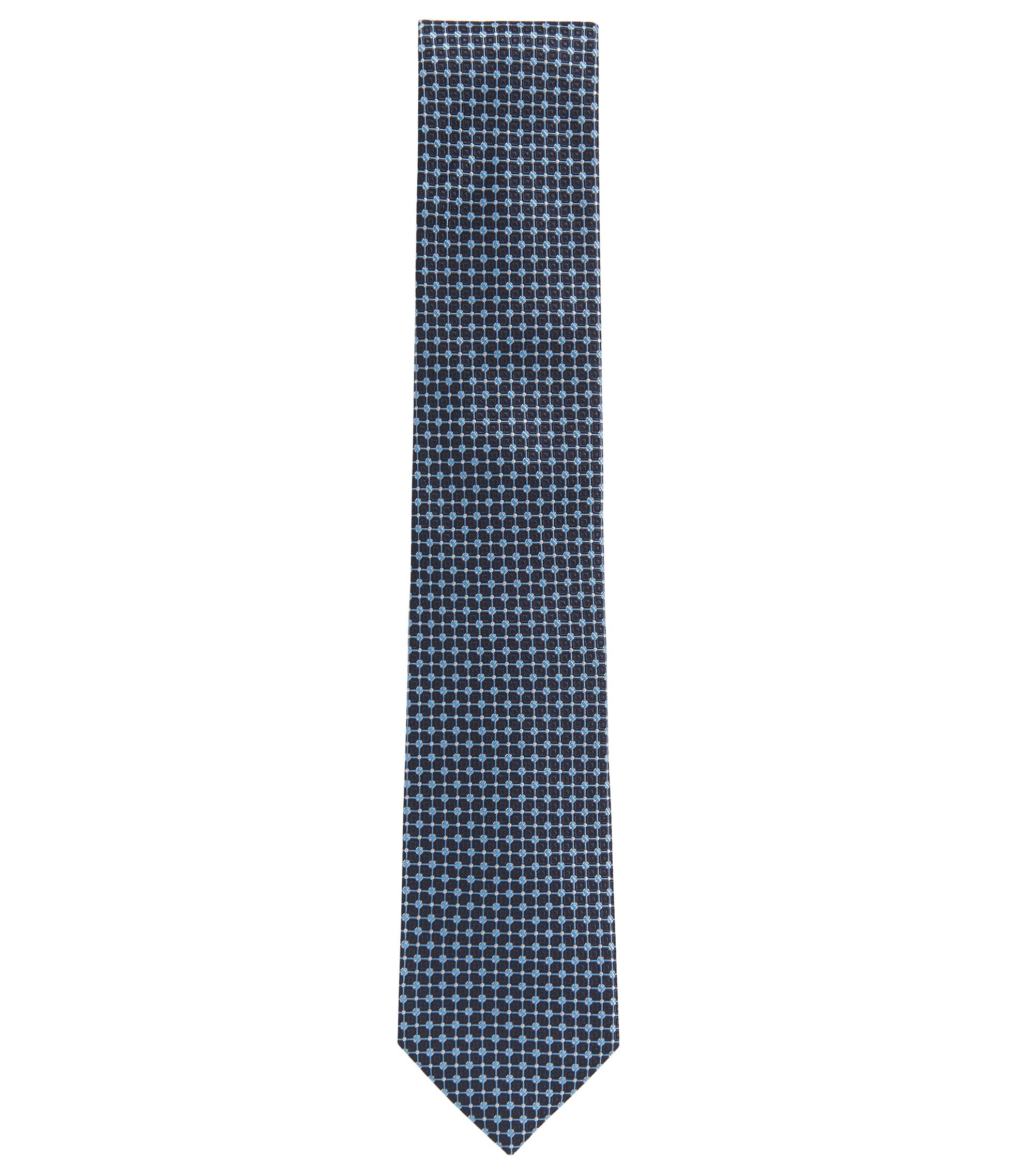 Micro-patterned tie in Italian silk jacquard, Light Blue