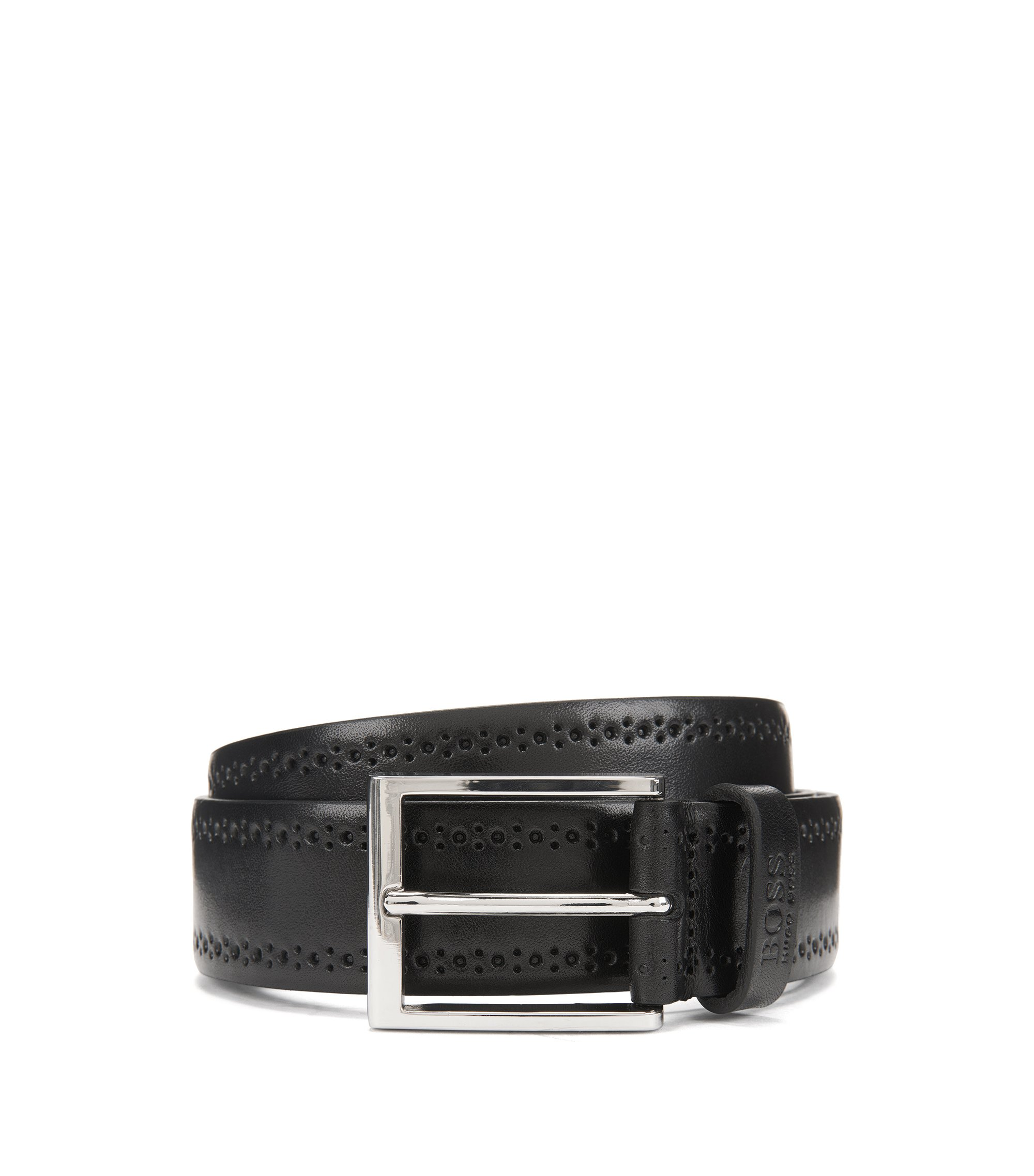 Smooth leather belt with brogue detailing, Black