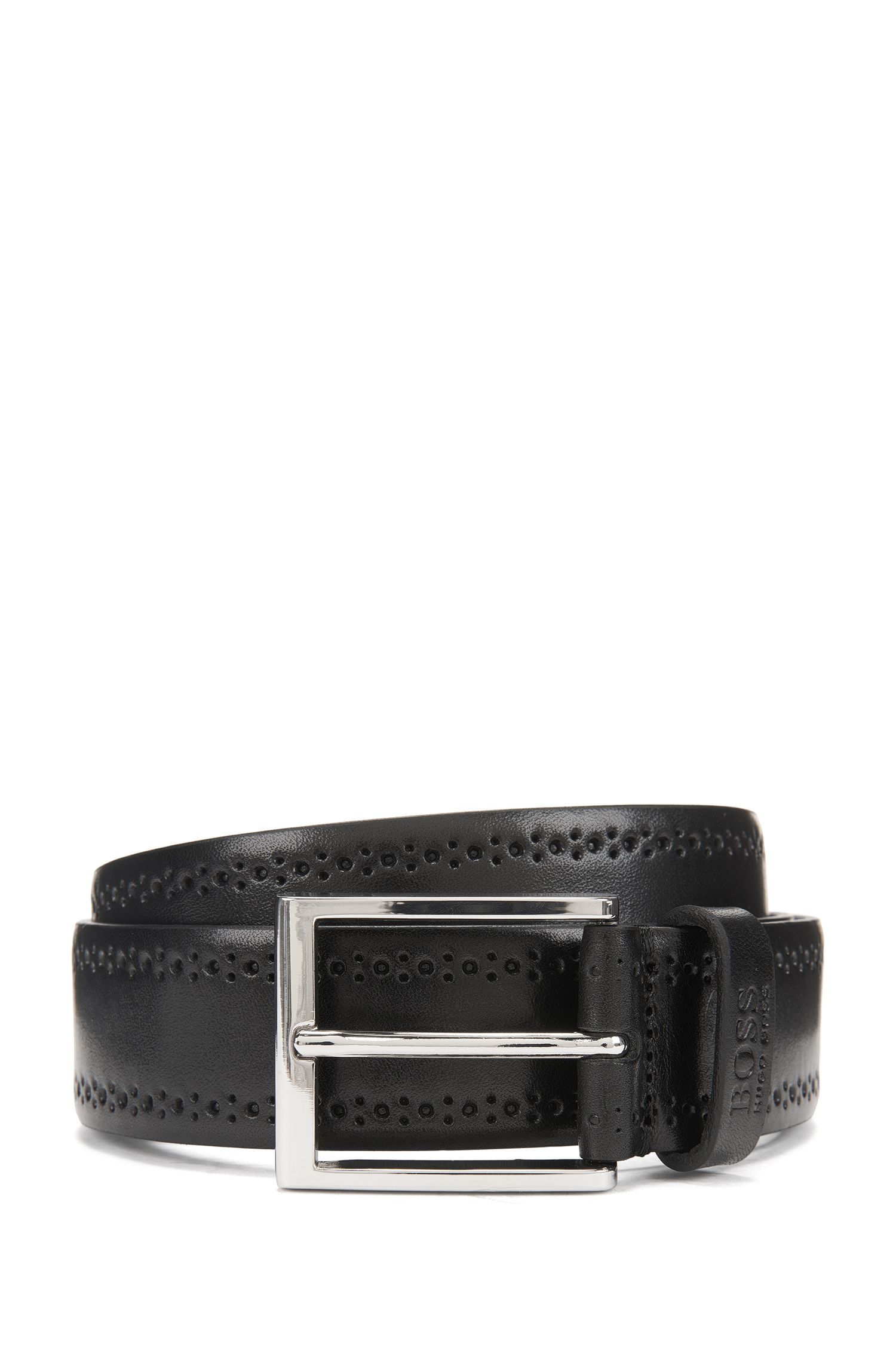 Smooth leather belt with brogue detailing