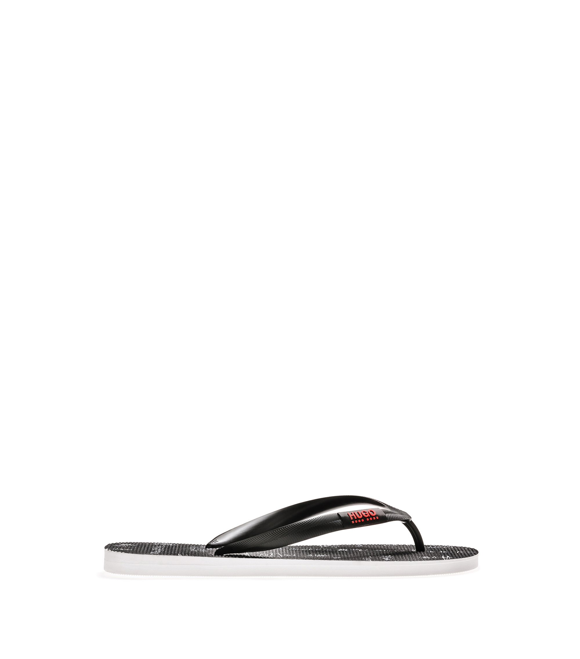 Toe-post flip-flops with seasonal artwork, Black