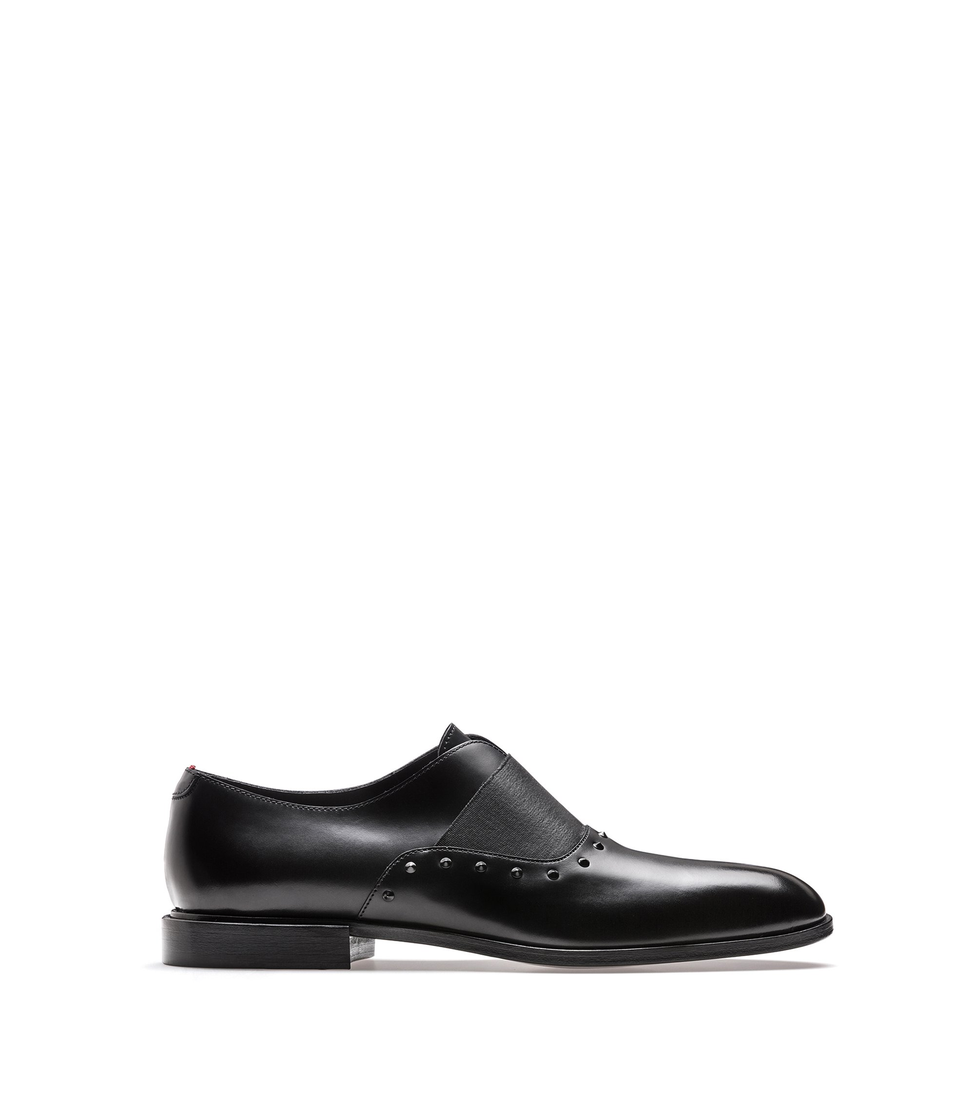 Slip-on leather dress shoes with stud detailing, Black