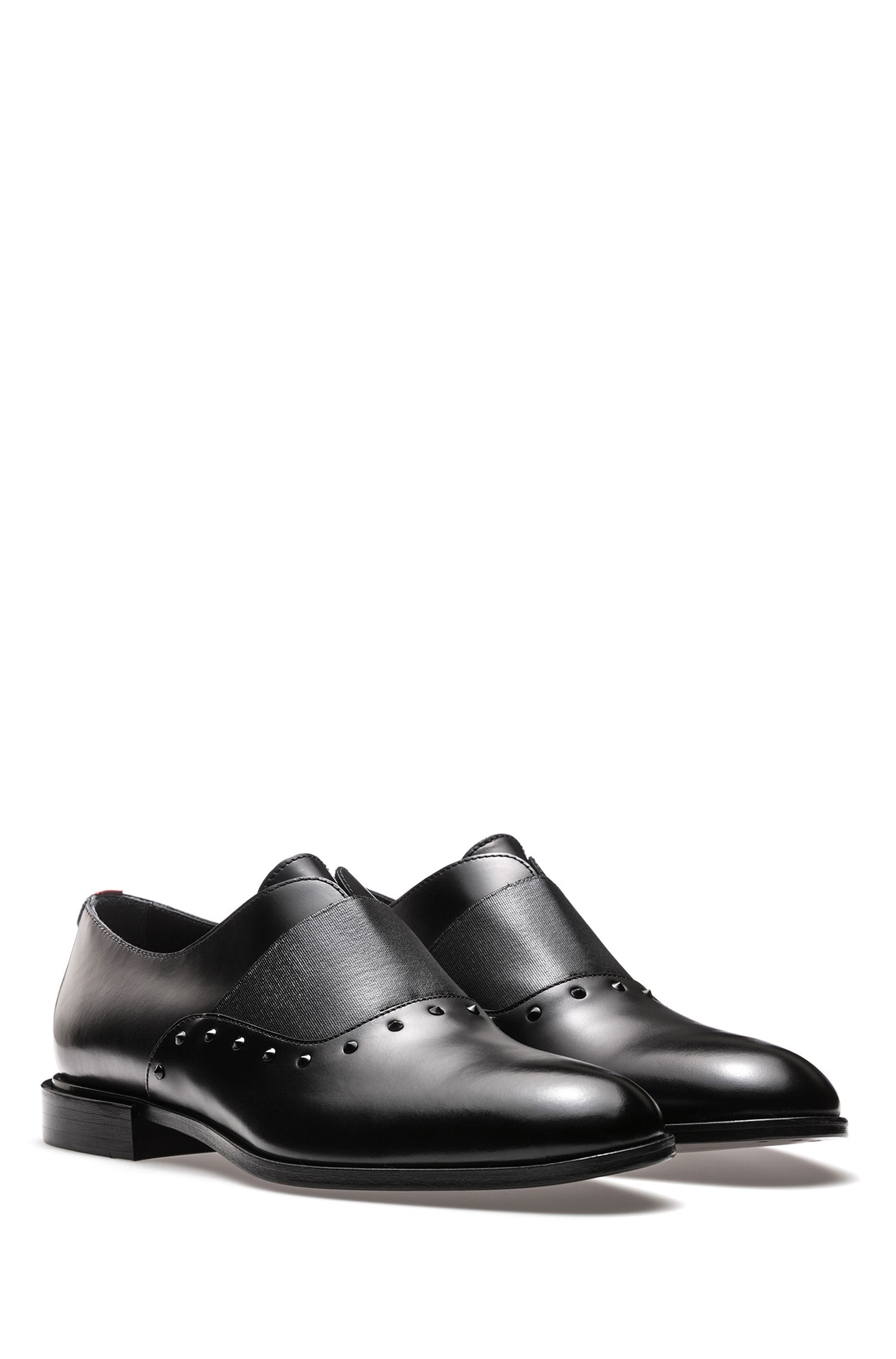 Slip-on leather dress shoes with stud detailing HUGO BOSS