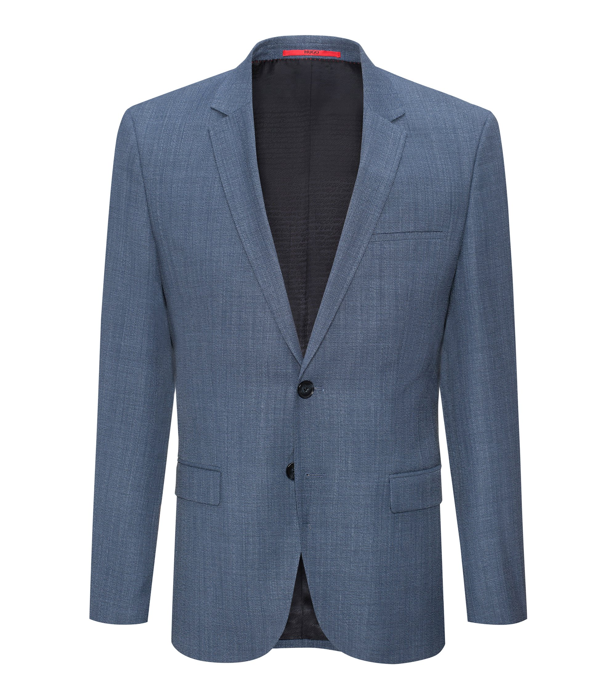 Extra-slim-fit jacket in basket-weave wool , Turquoise