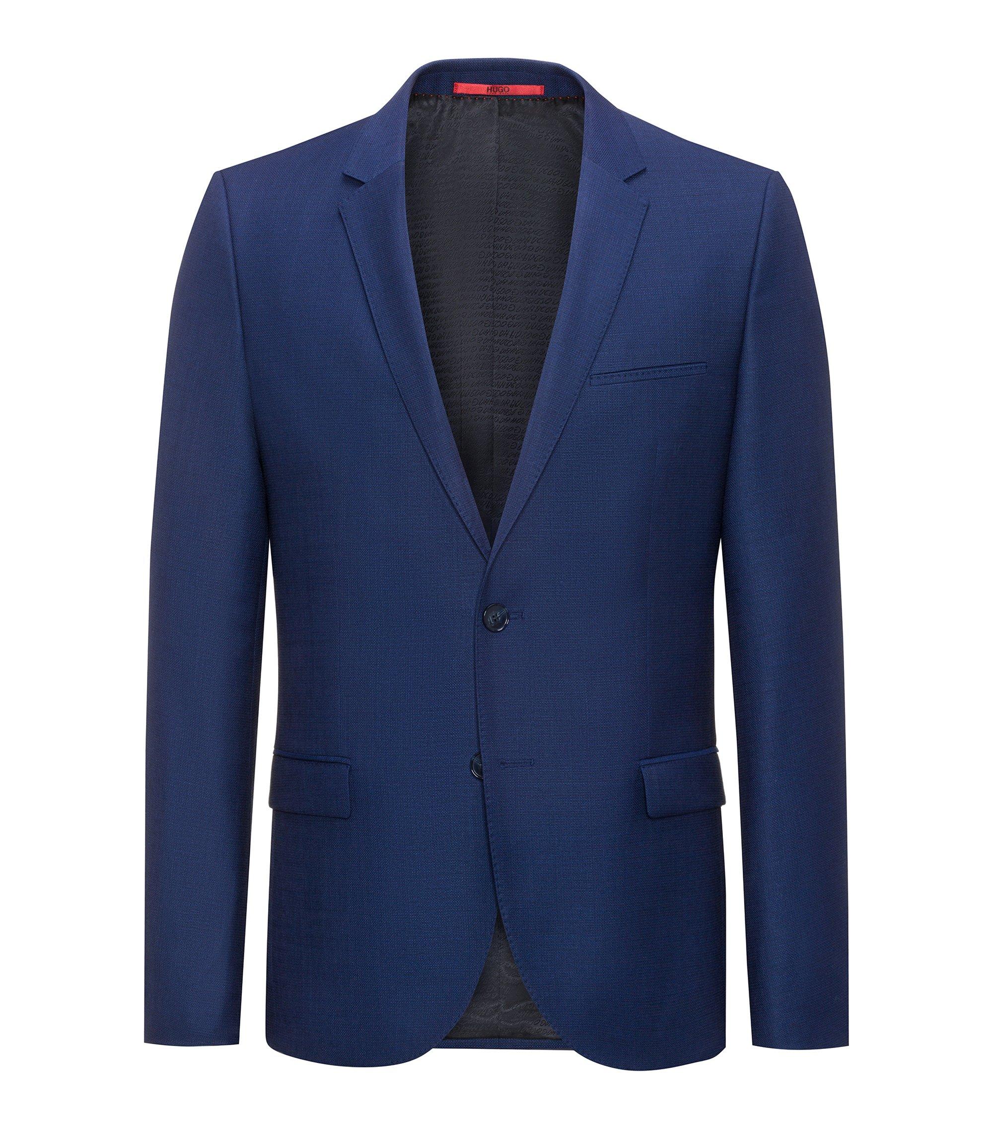 Extra Slim-Fit Sakko aus Schurwolle mit Panamabindung , Blau