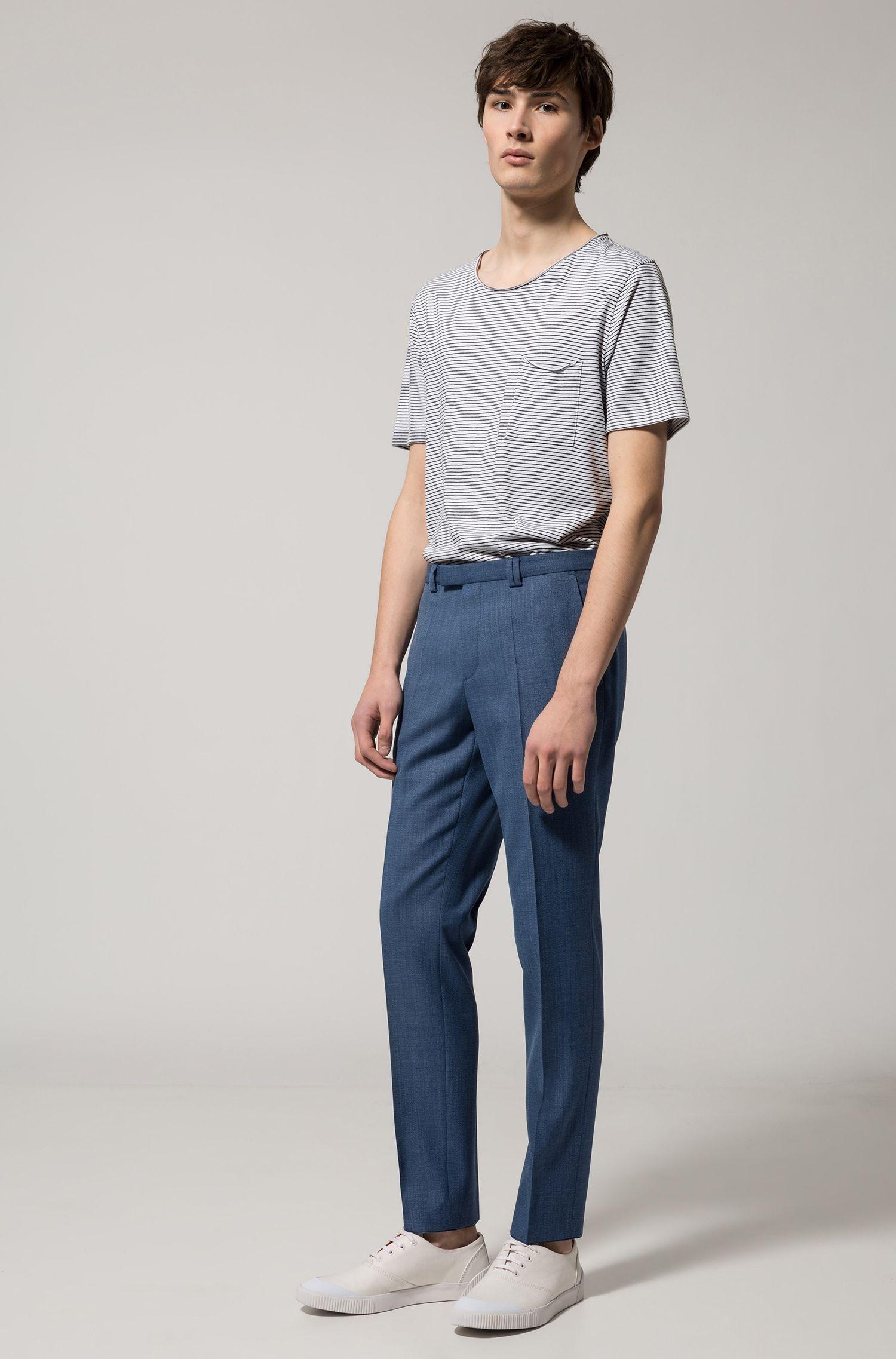 Extra-slim-fit trousers in basket-weave wool