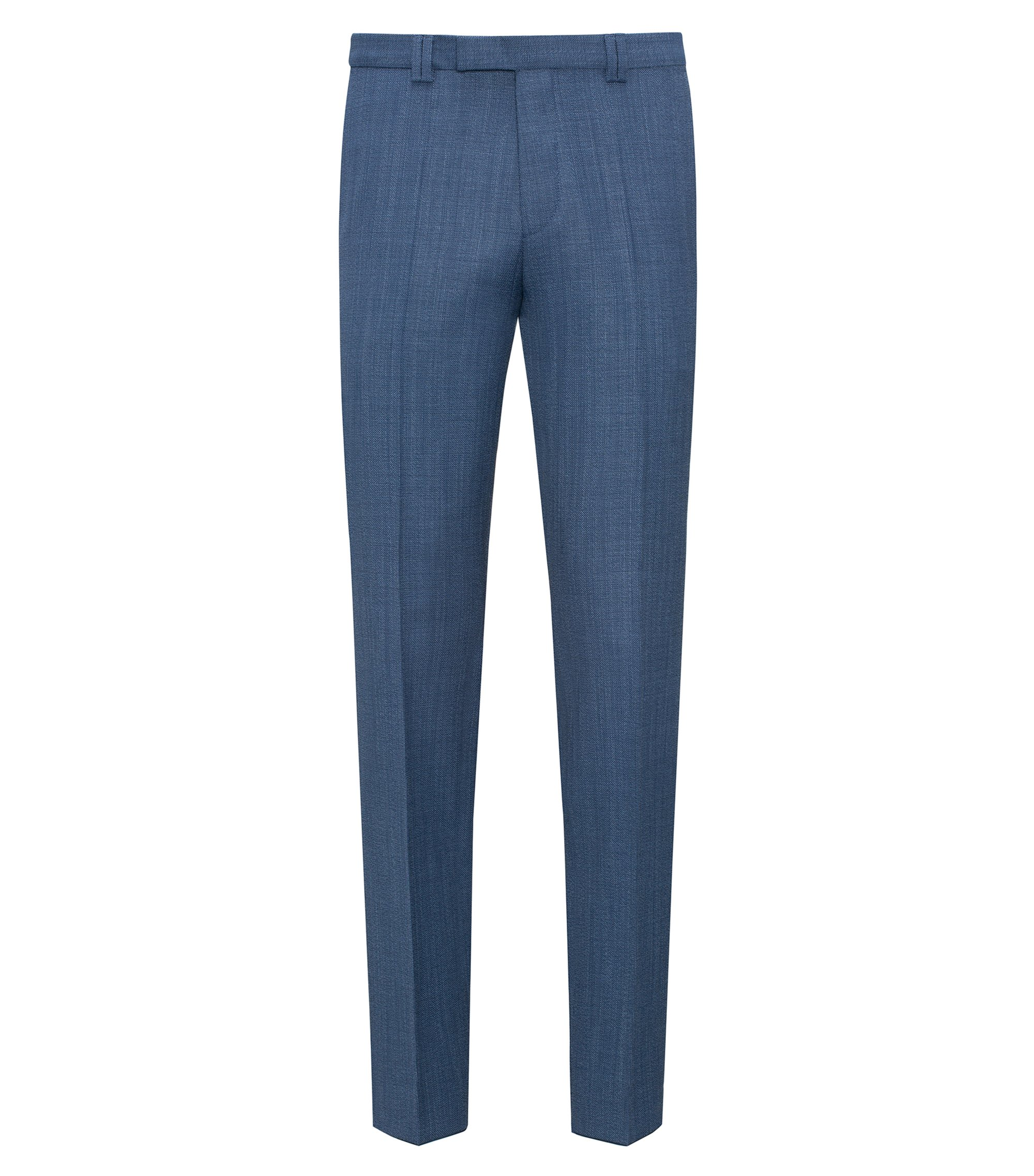 Extra-slim-fit trousers in basket-weave wool , Blue