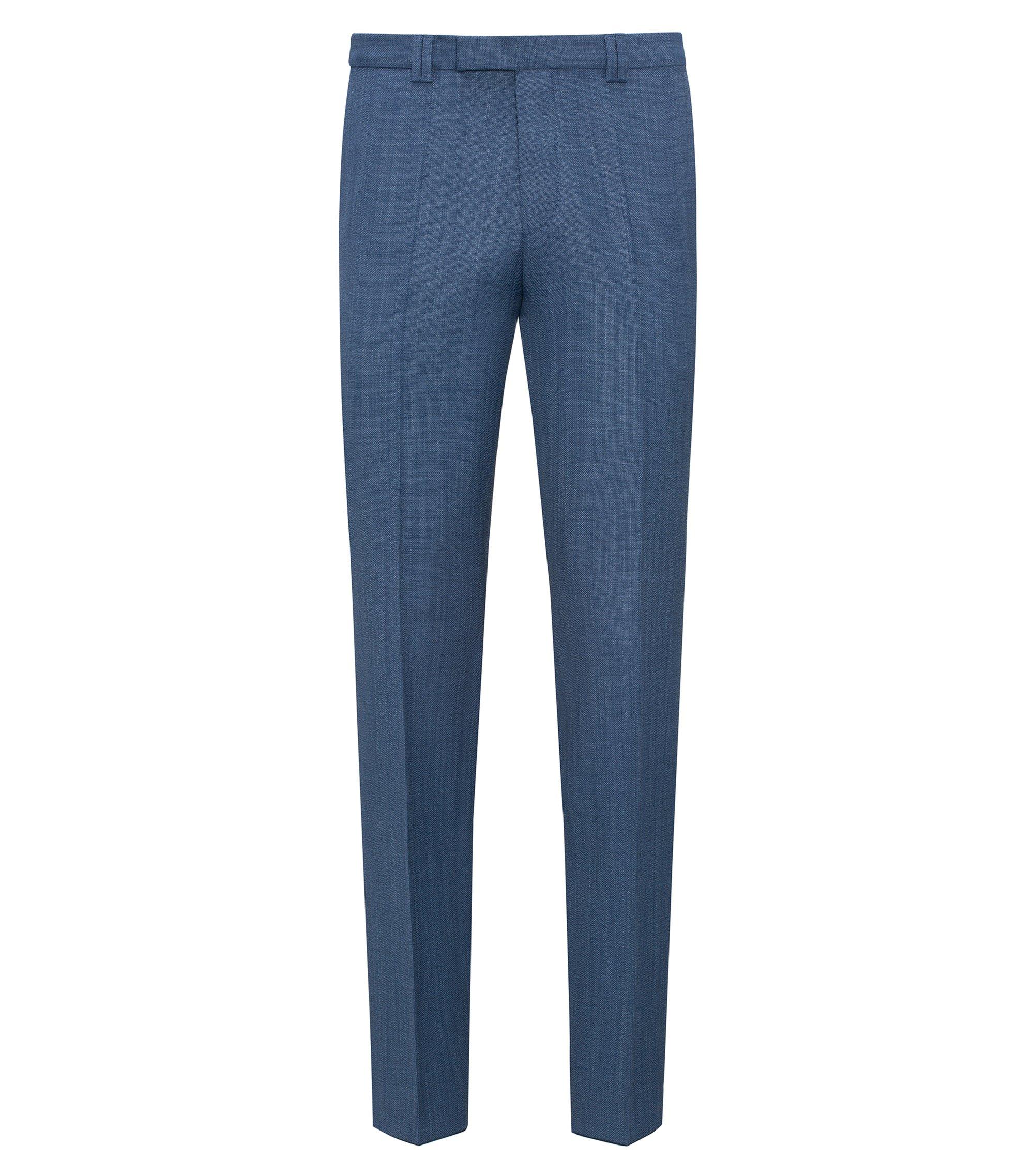 Extra Slim-Fit Hose aus Schurwolle mit Panamabindung , Blau