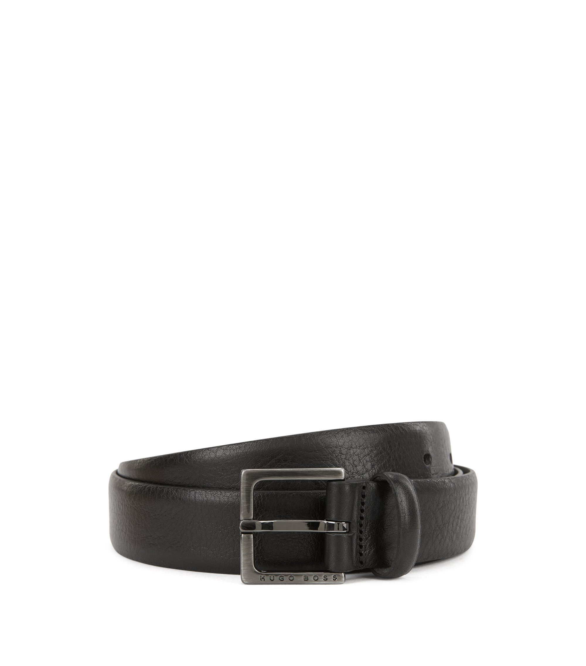 Embossed leather belt with brushed-gunmetal hardware, Black