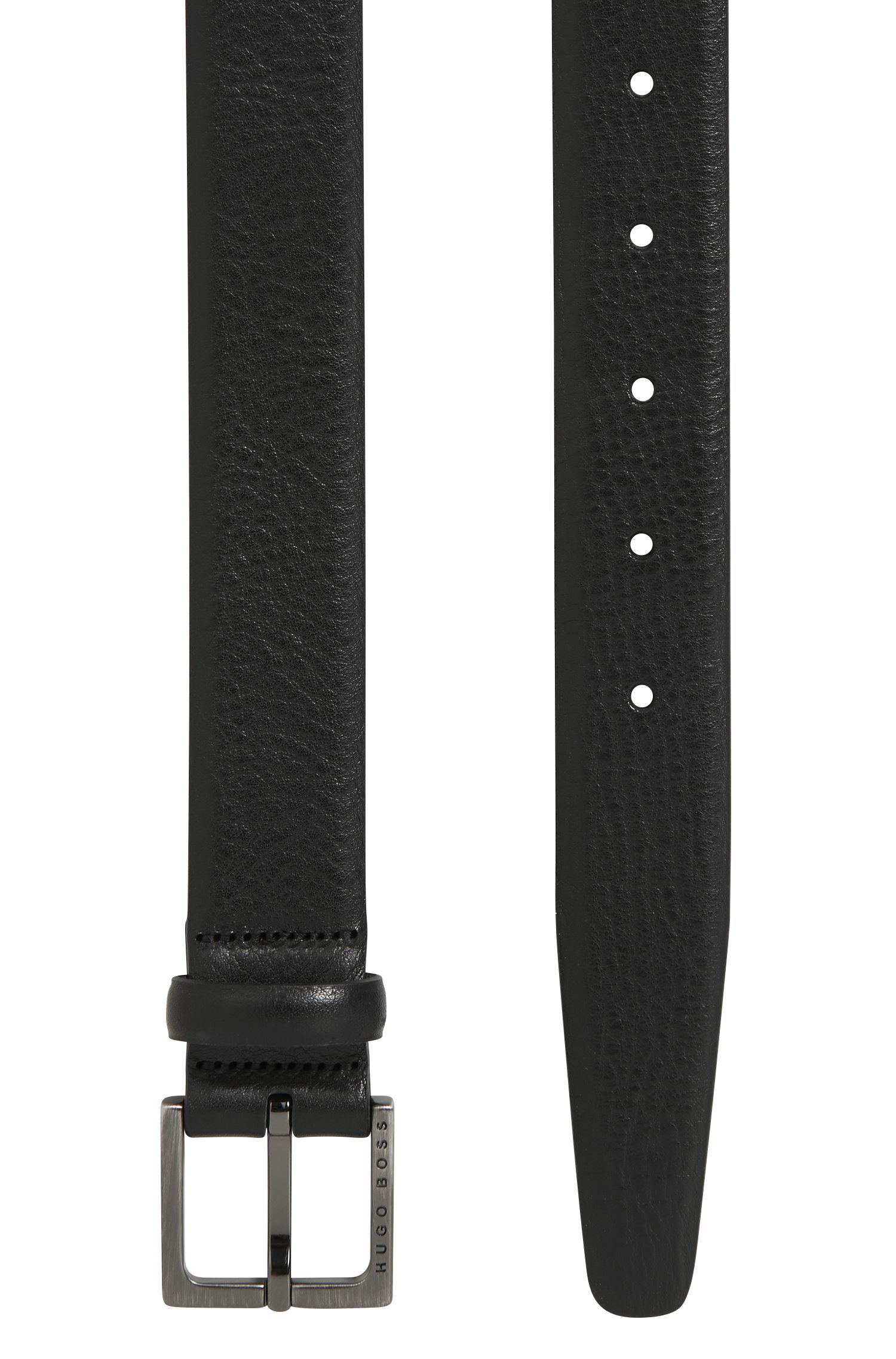 Embossed leather belt with brushed-gunmetal hardware