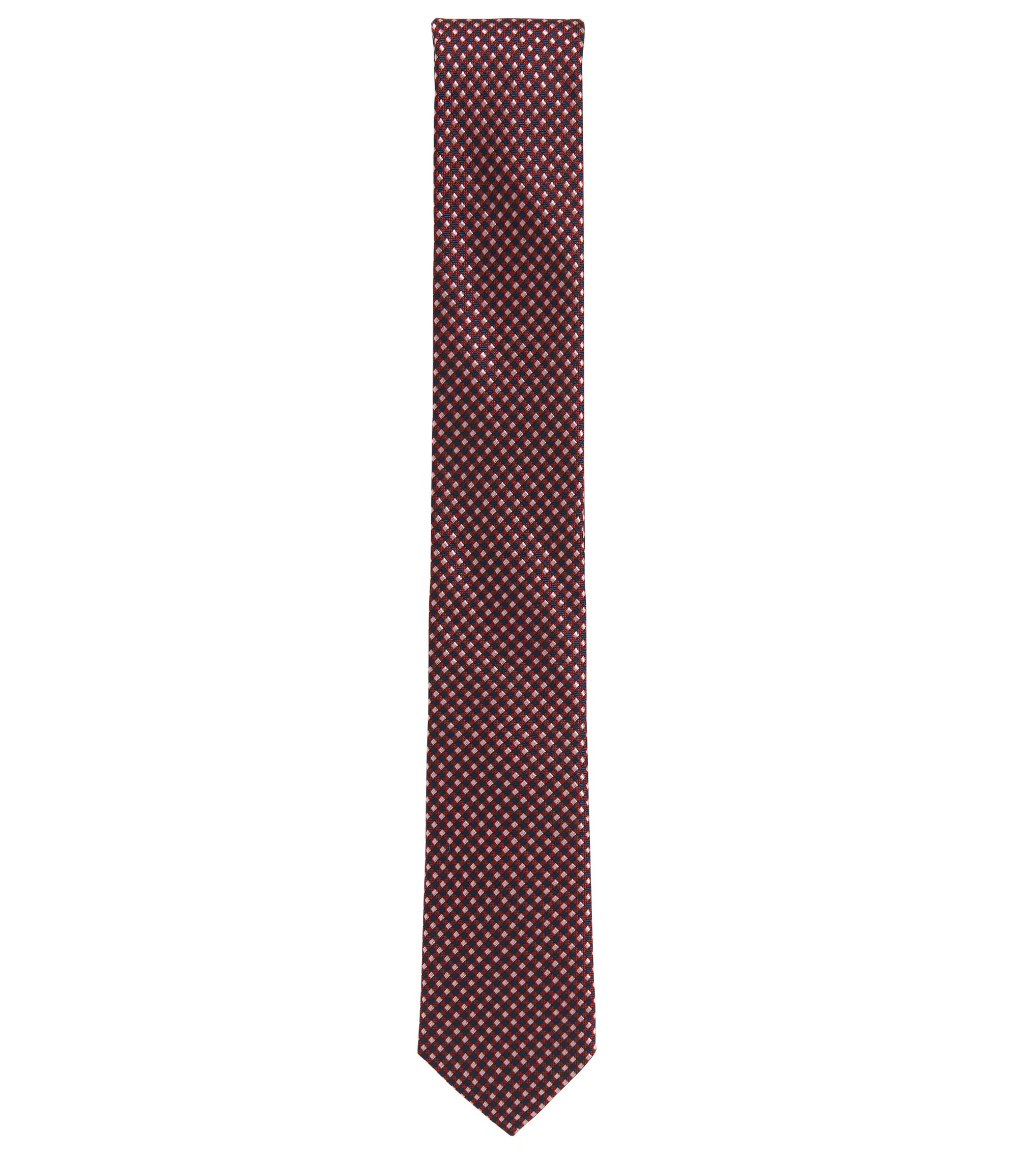 Silk-jacquard tie made in Italy, Dark pink