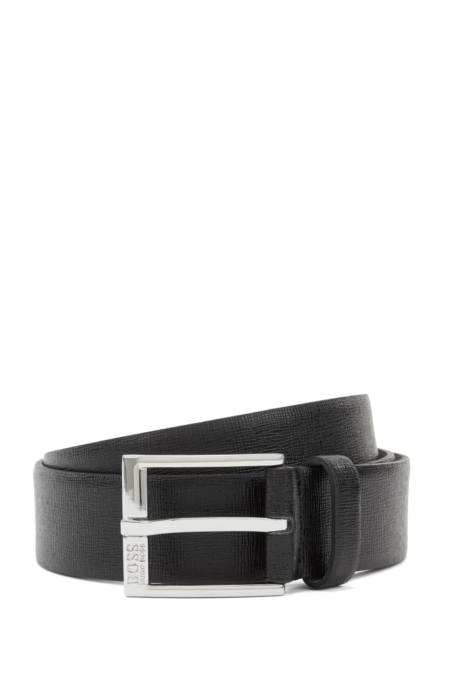 Palmellato-embossed leather belt with engraved buckle, Black