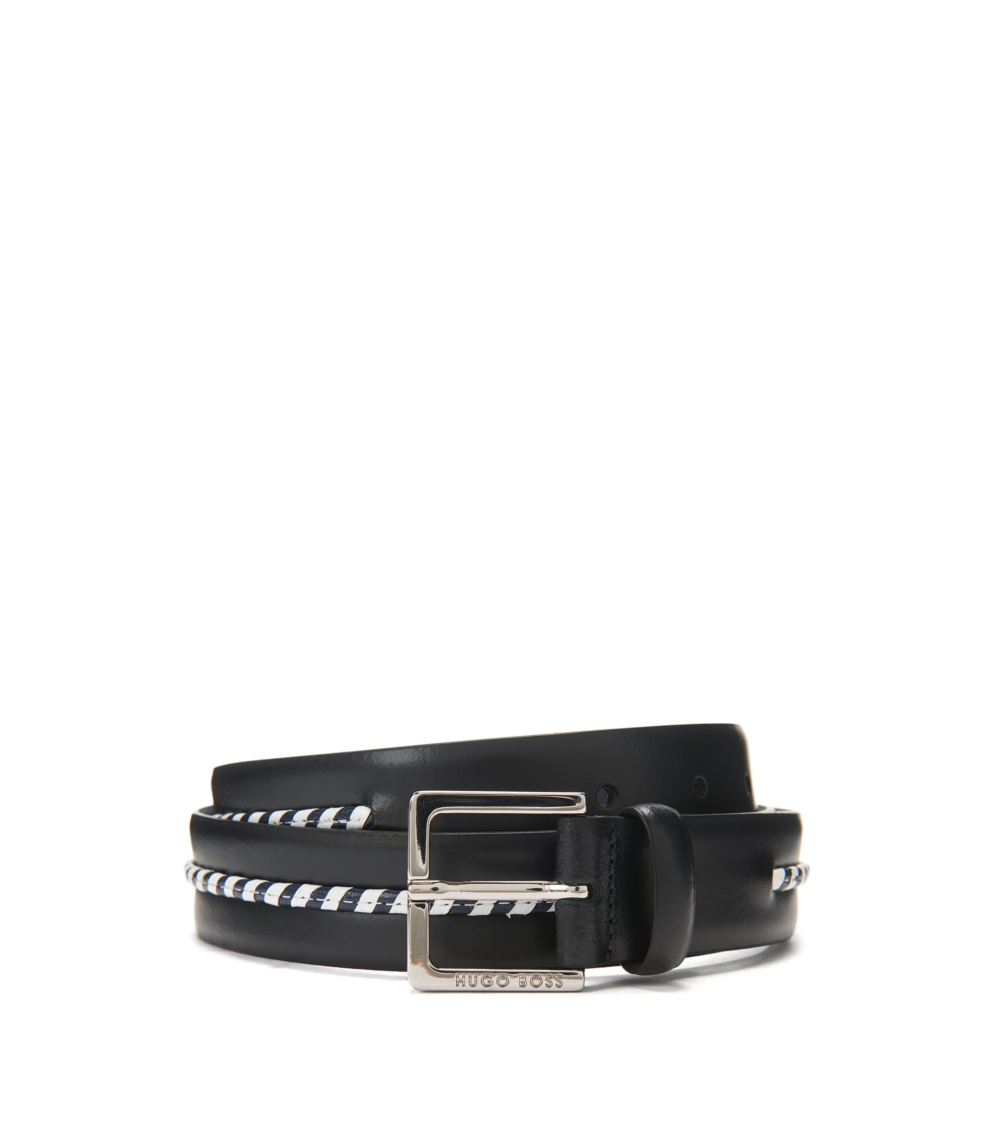 Leather belt with braided trim, Dark Blue