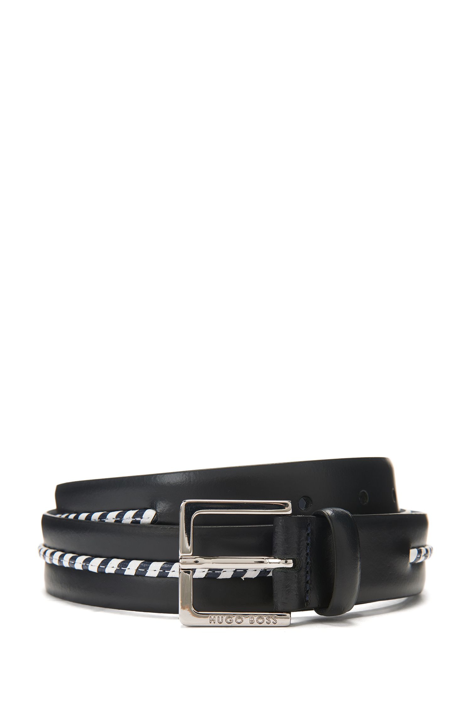 Leather belt with braided trim