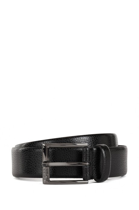 Grained-leather belt with gunmetal buckle, Black