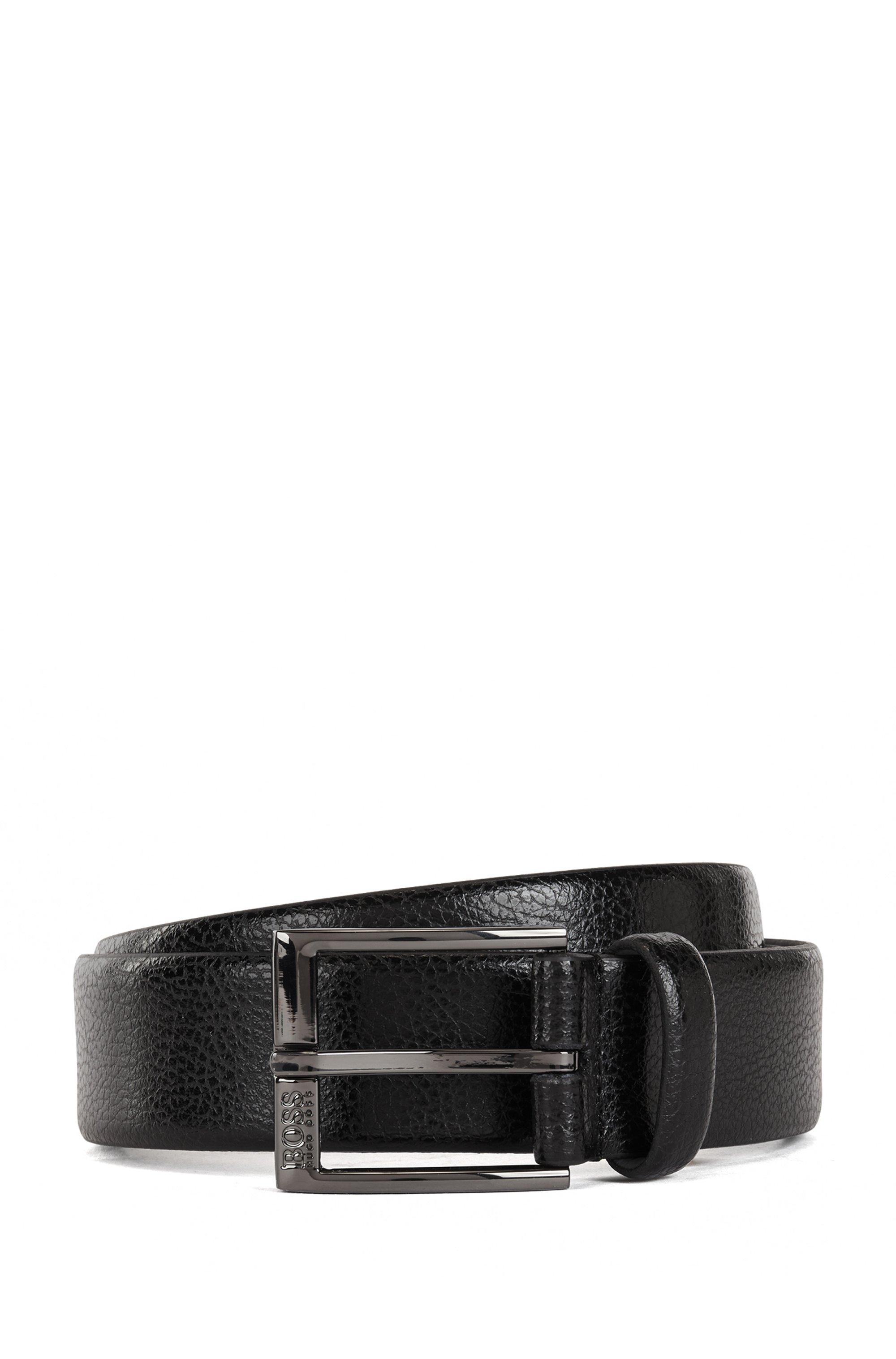 Pin-buckle belt in embossed Italian leather, Black