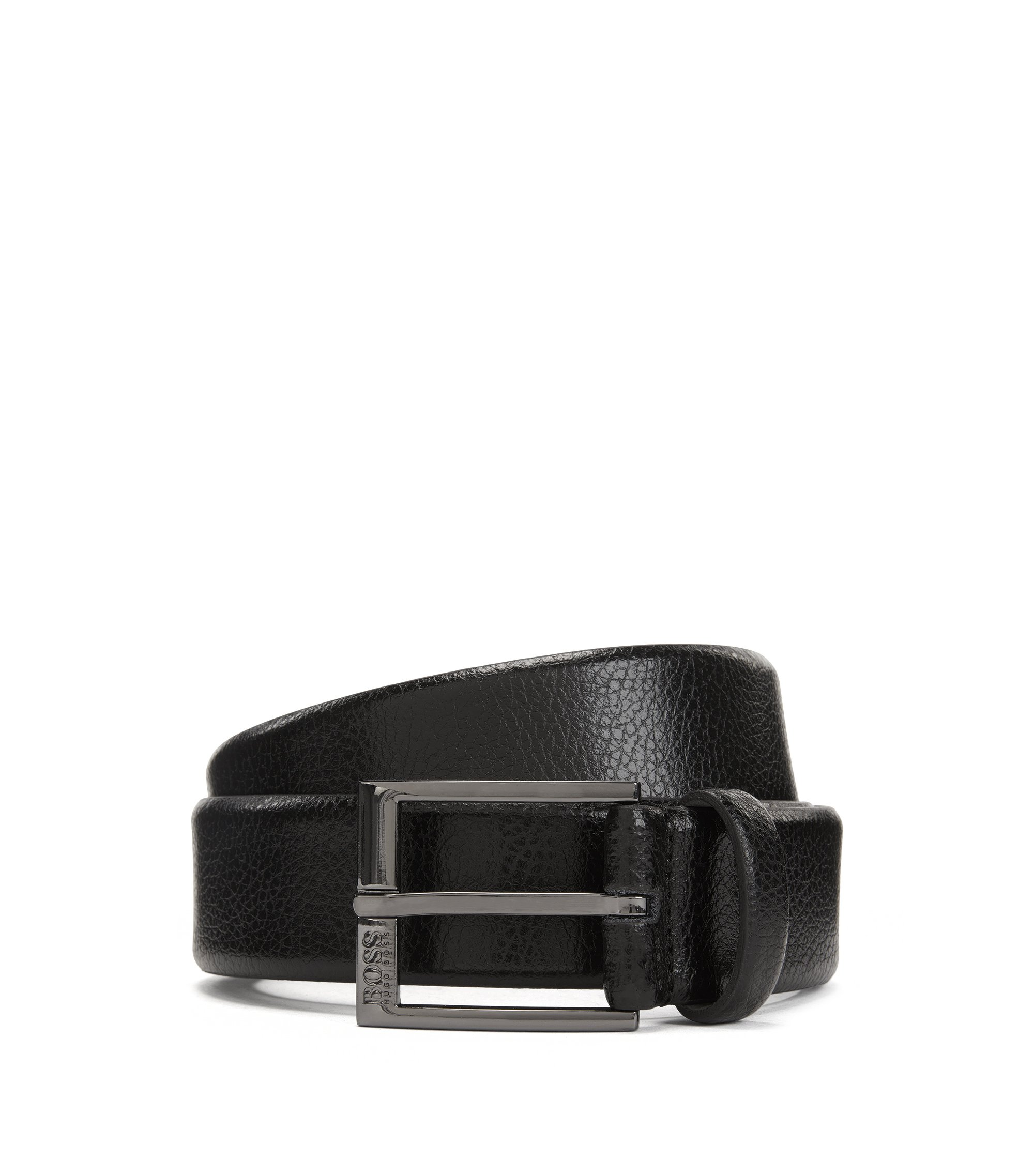 Leather belt with embossed grain , Black