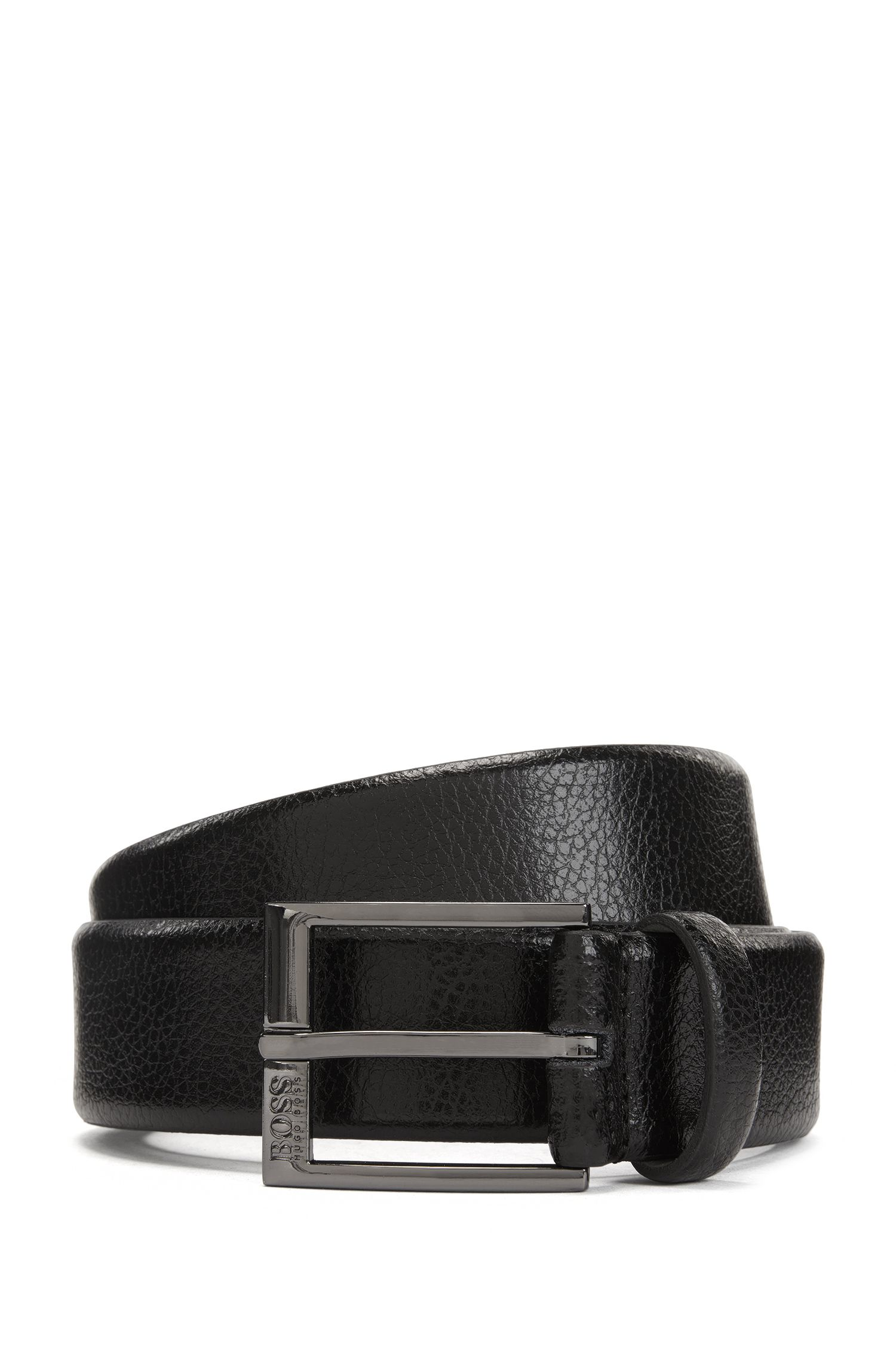 Leather belt with embossed grain