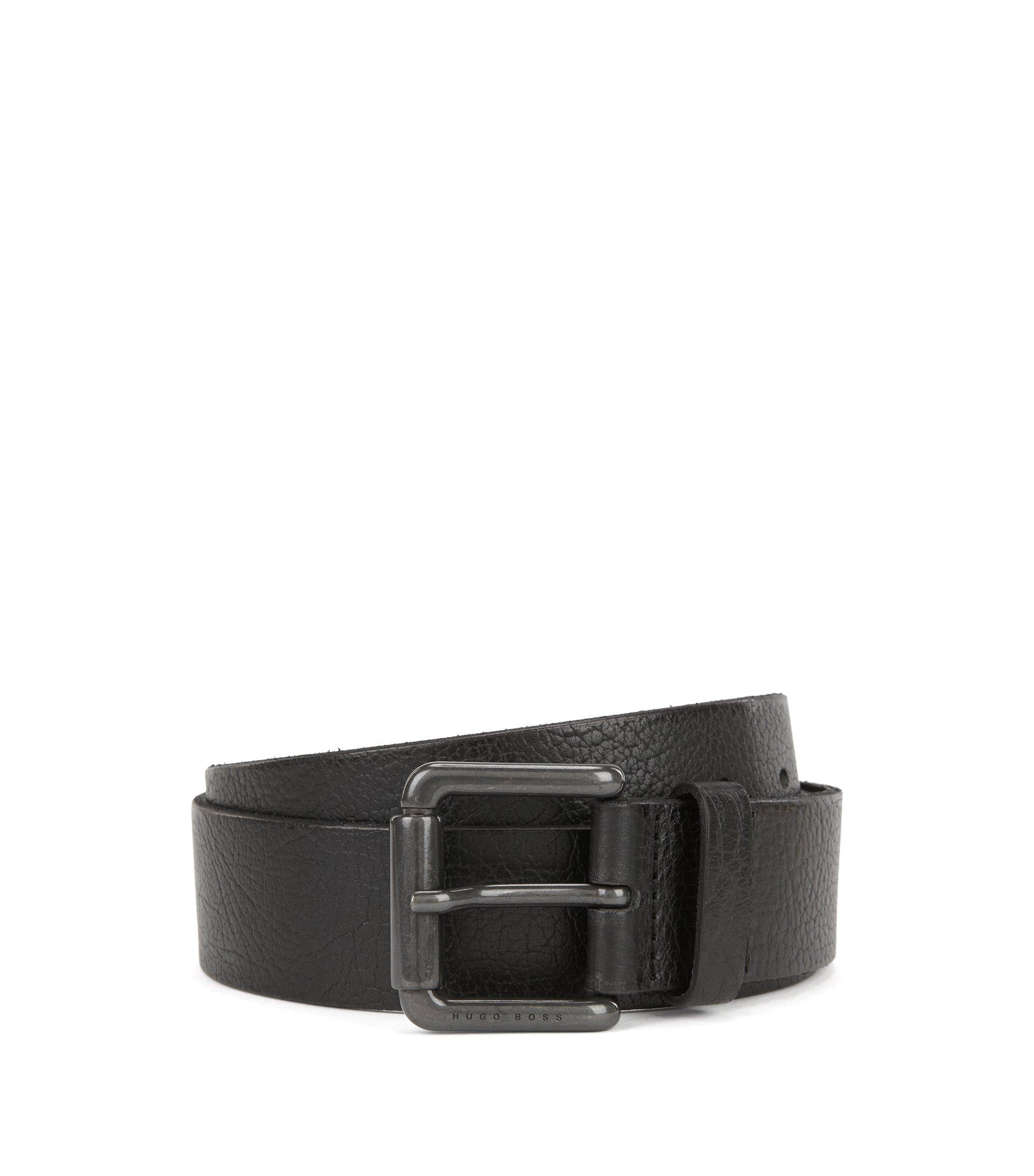 Grainy leather belt with gunmetal roller buckle, Black