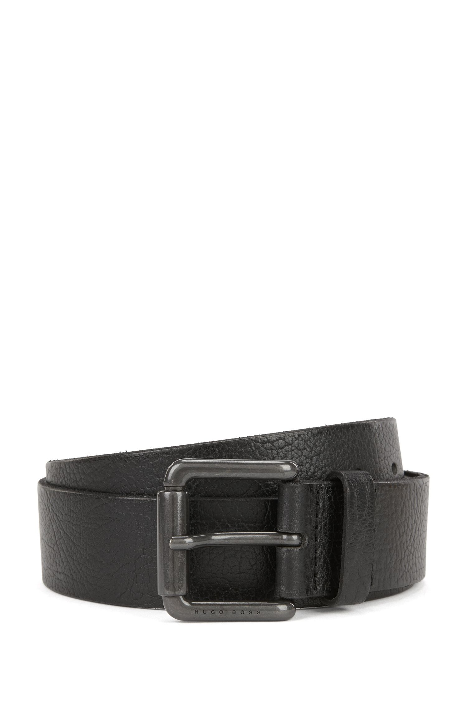 Grainy leather belt with gunmetal roller buckle
